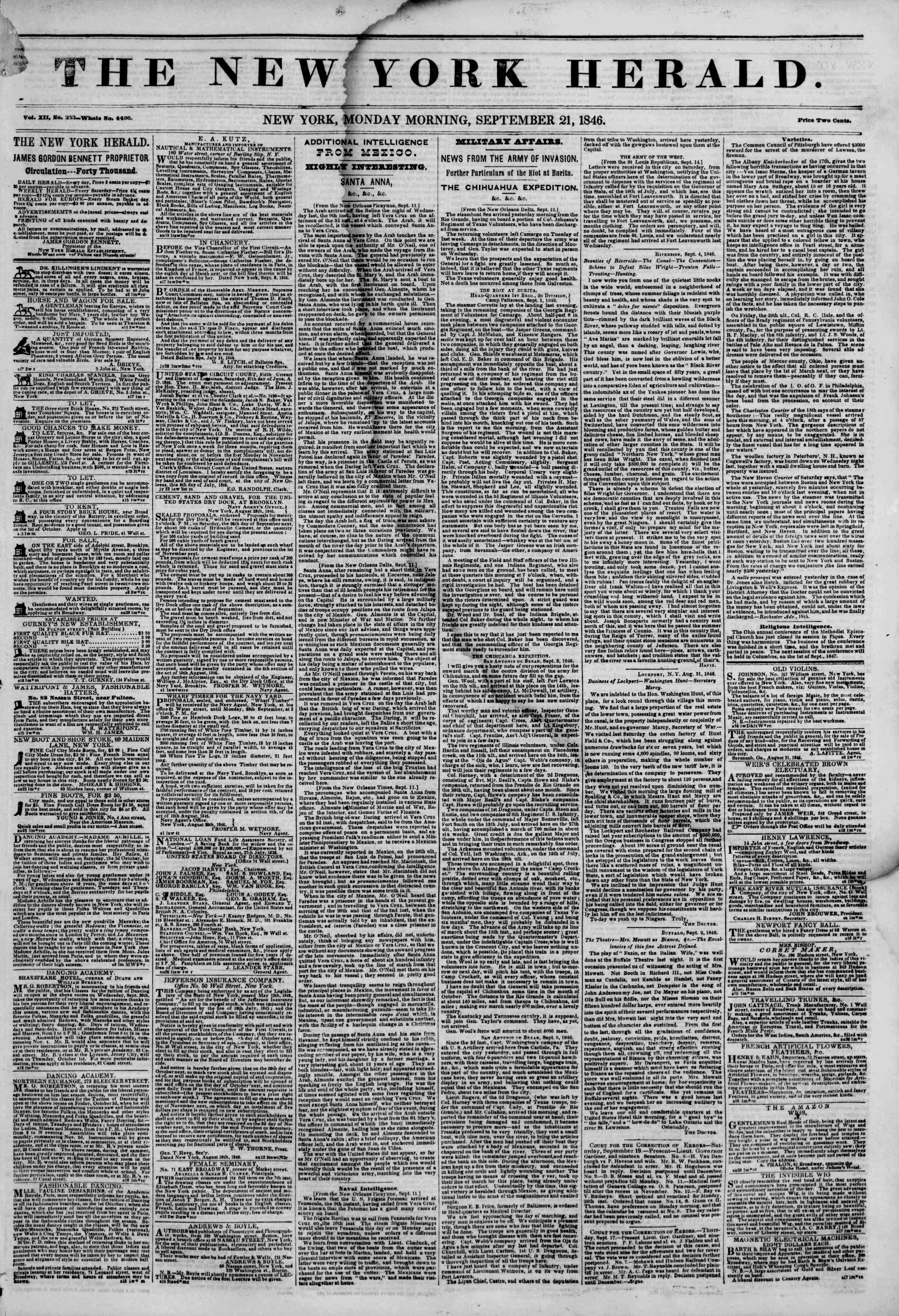Newspaper of The New York Herald dated September 21, 1846 Page 2
