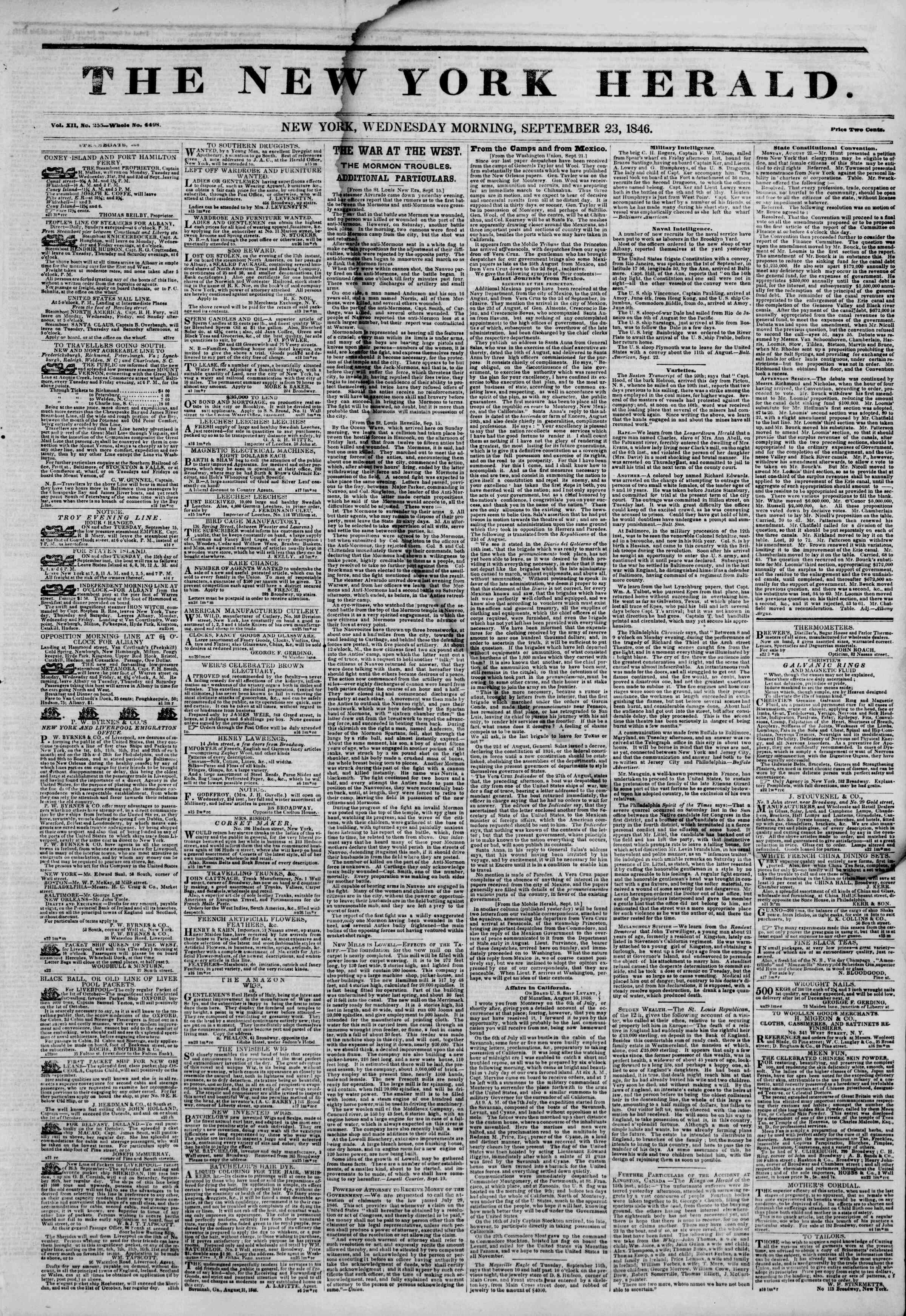 Newspaper of The New York Herald dated September 23, 1846 Page 1