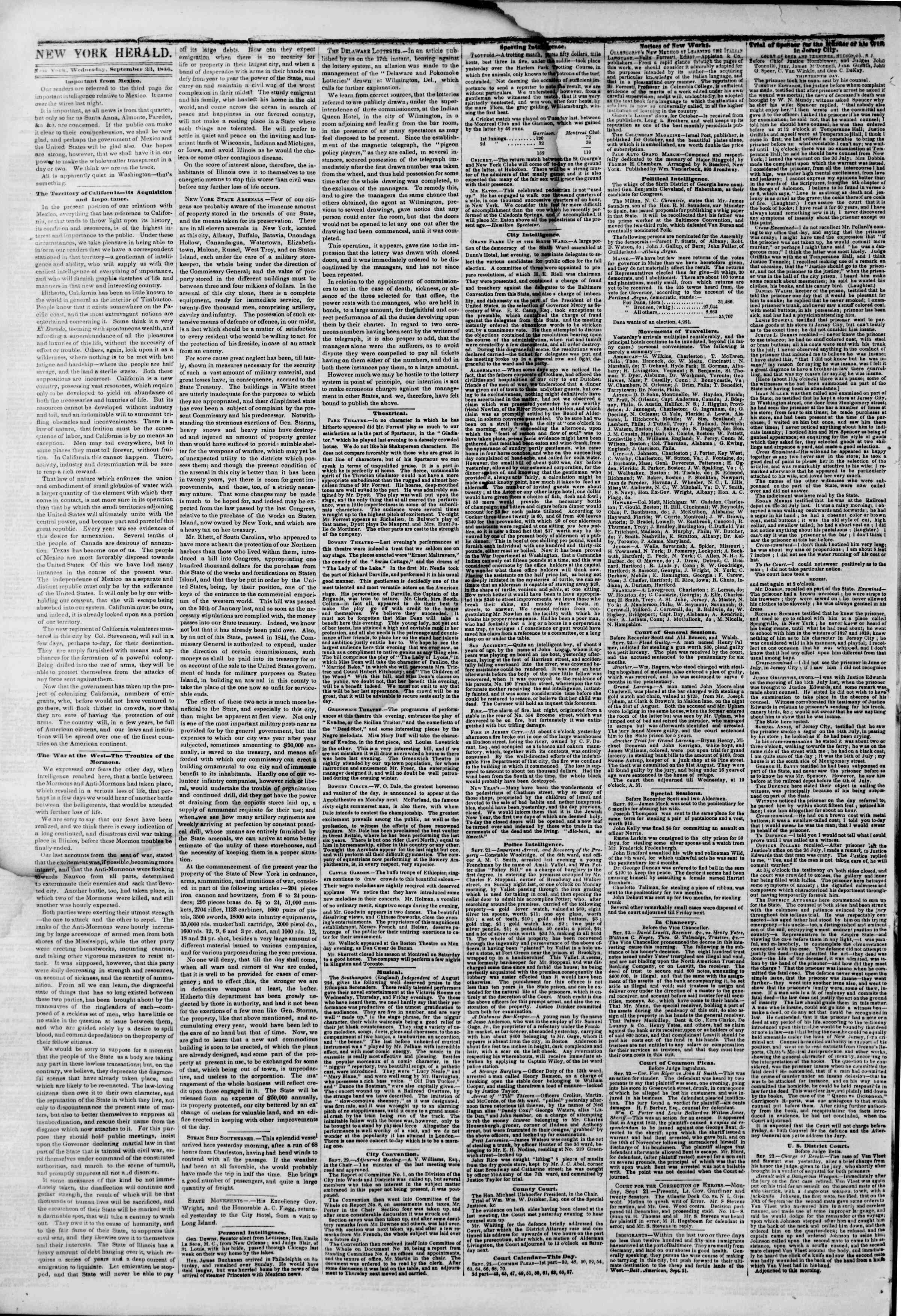 Newspaper of The New York Herald dated September 23, 1846 Page 2