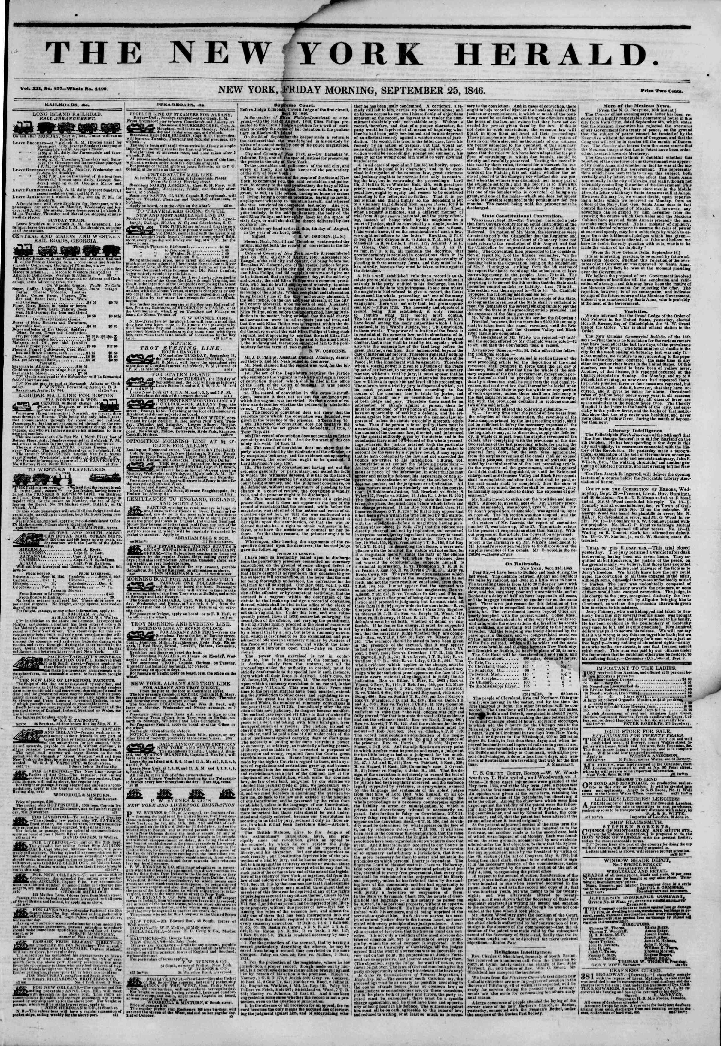 Newspaper of The New York Herald dated September 25, 1846 Page 1