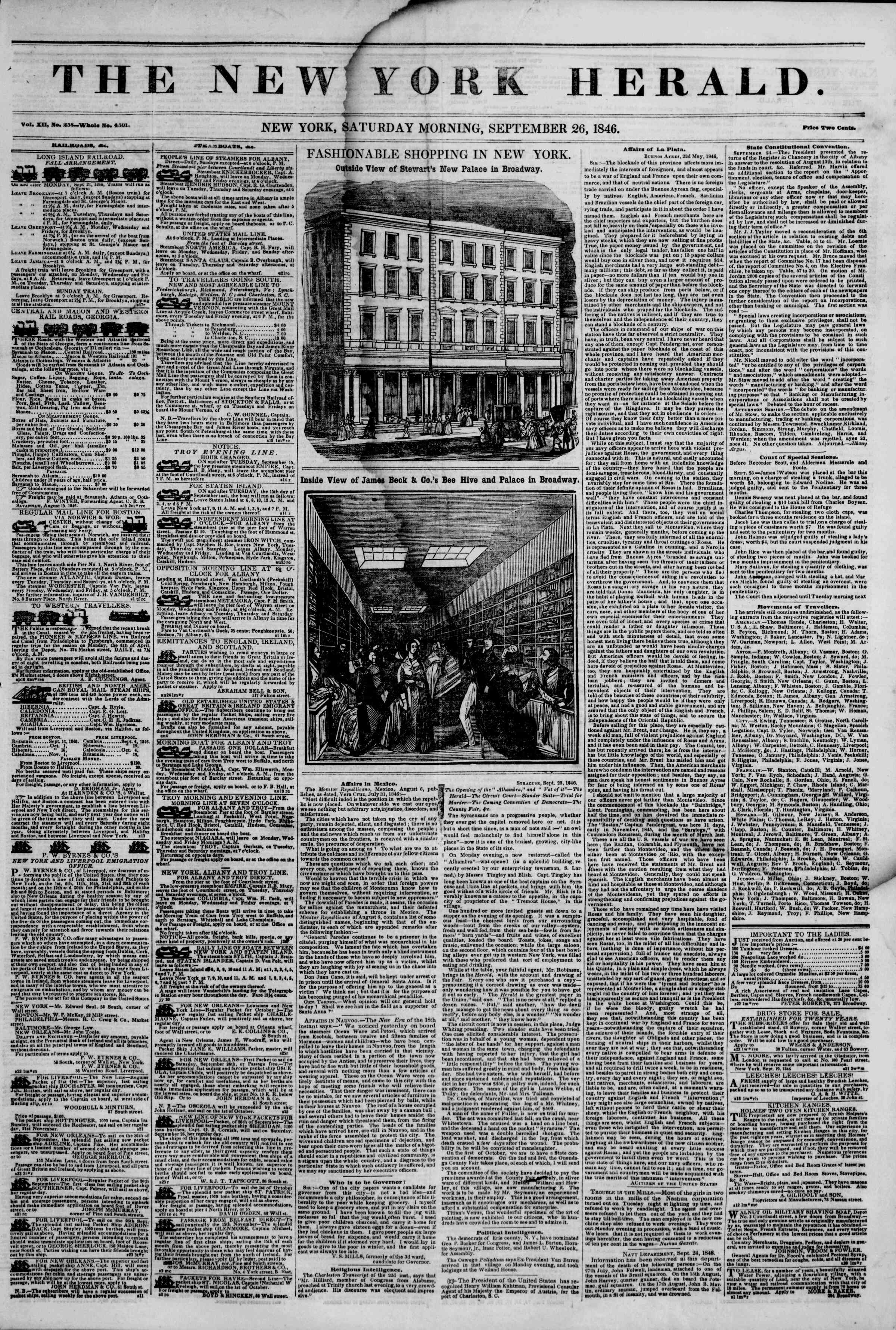 Newspaper of The New York Herald dated September 26, 1846 Page 1