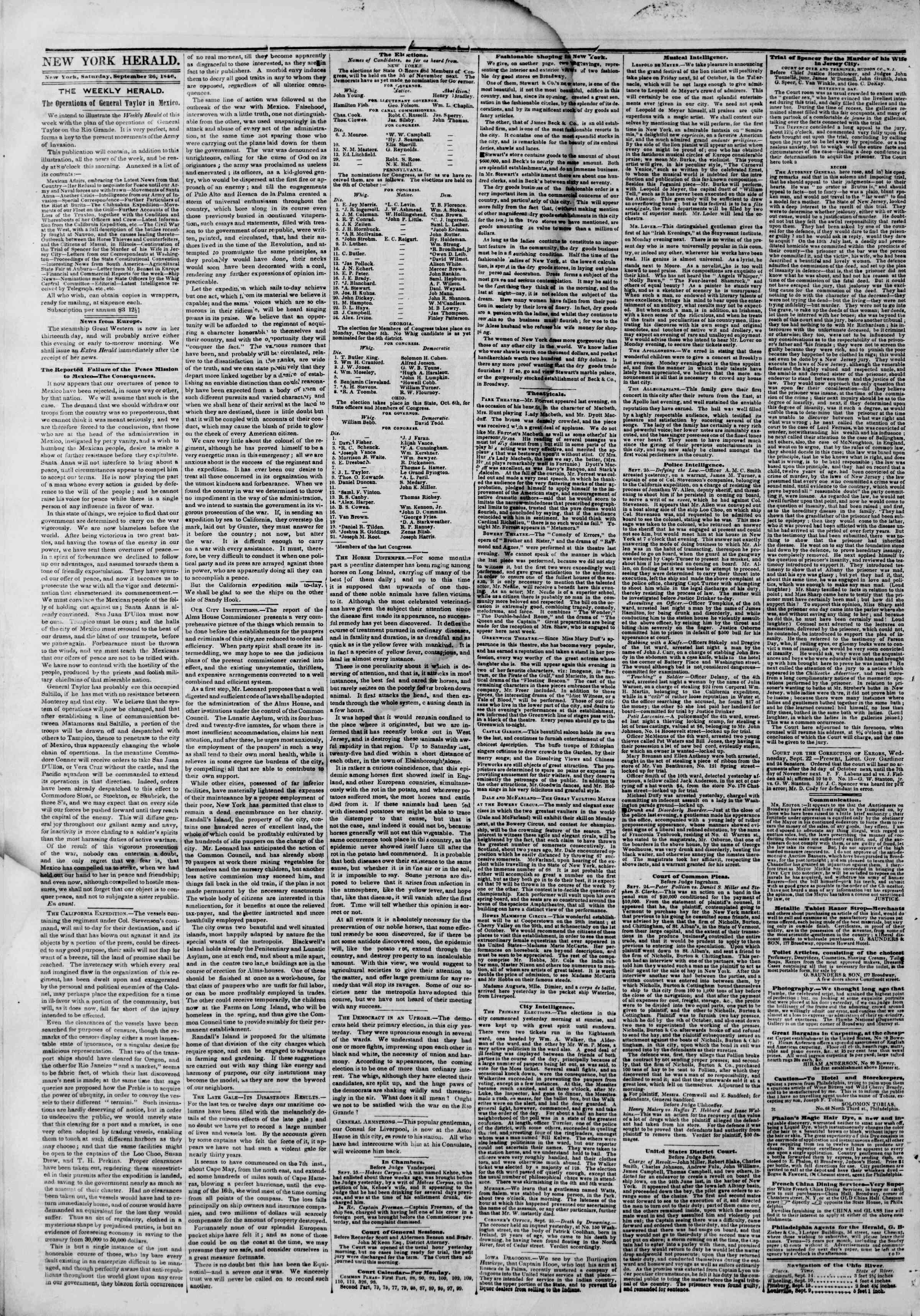 Newspaper of The New York Herald dated September 26, 1846 Page 2