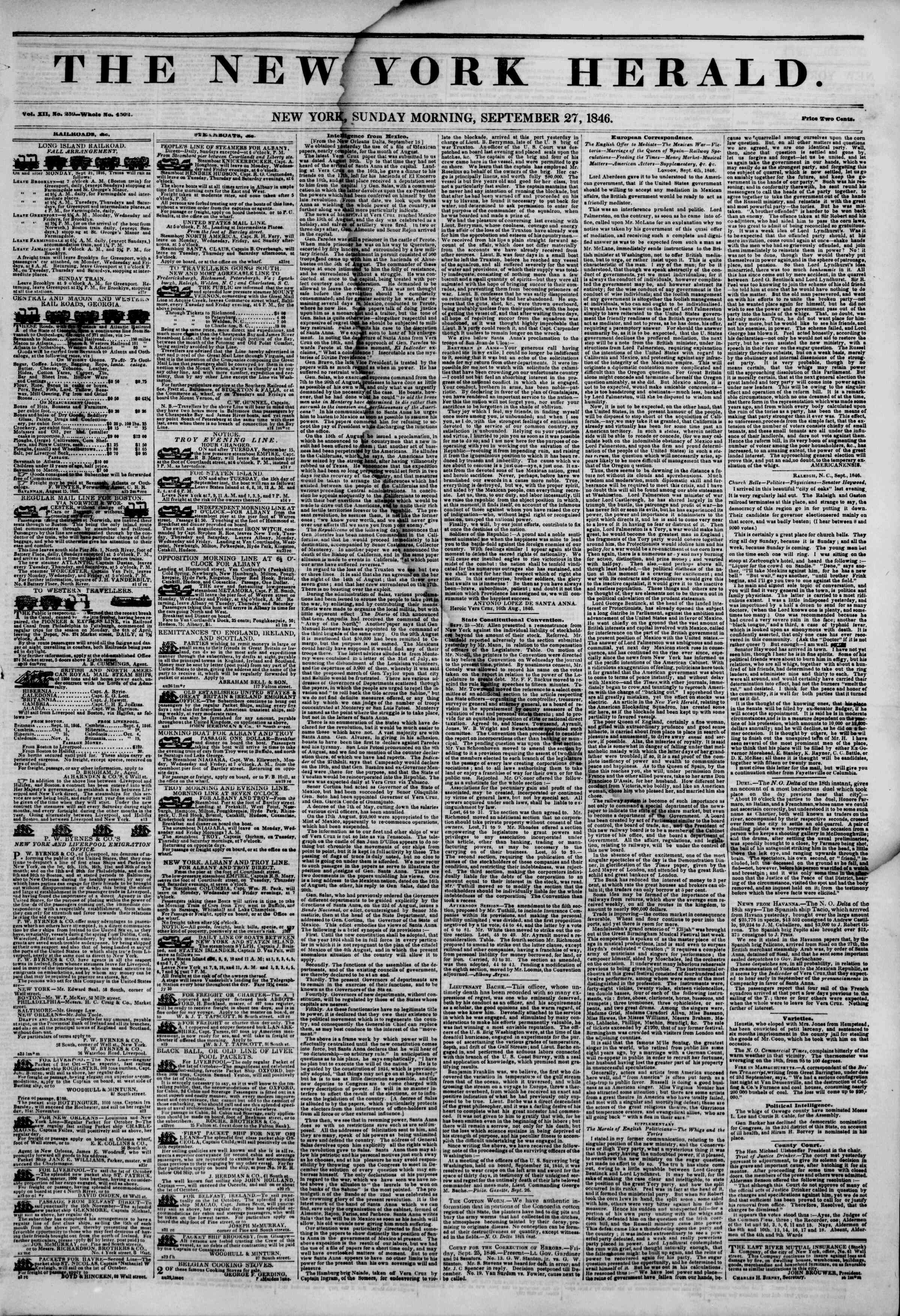 Newspaper of The New York Herald dated September 27, 1846 Page 1