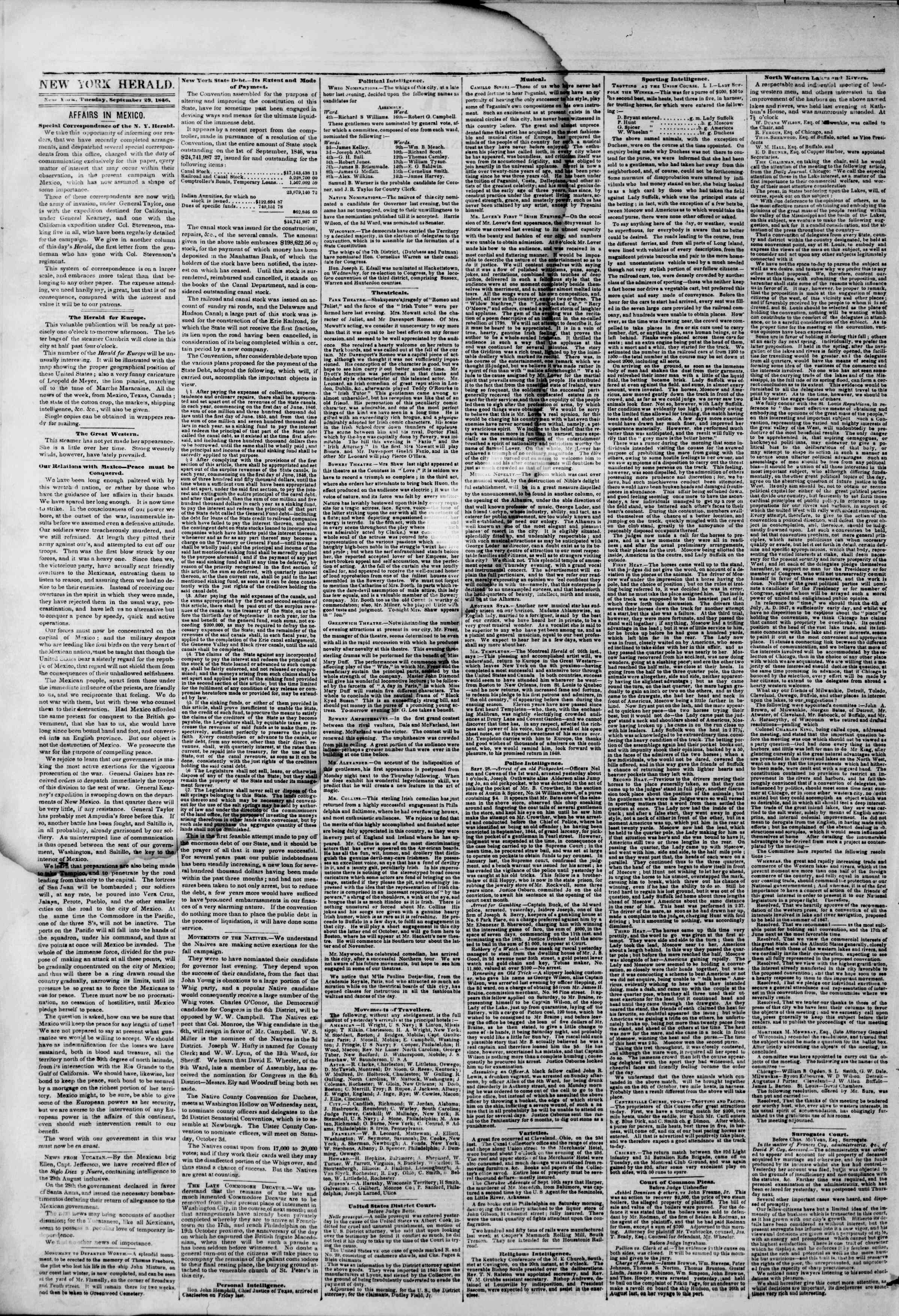 Newspaper of The New York Herald dated September 29, 1846 Page 2
