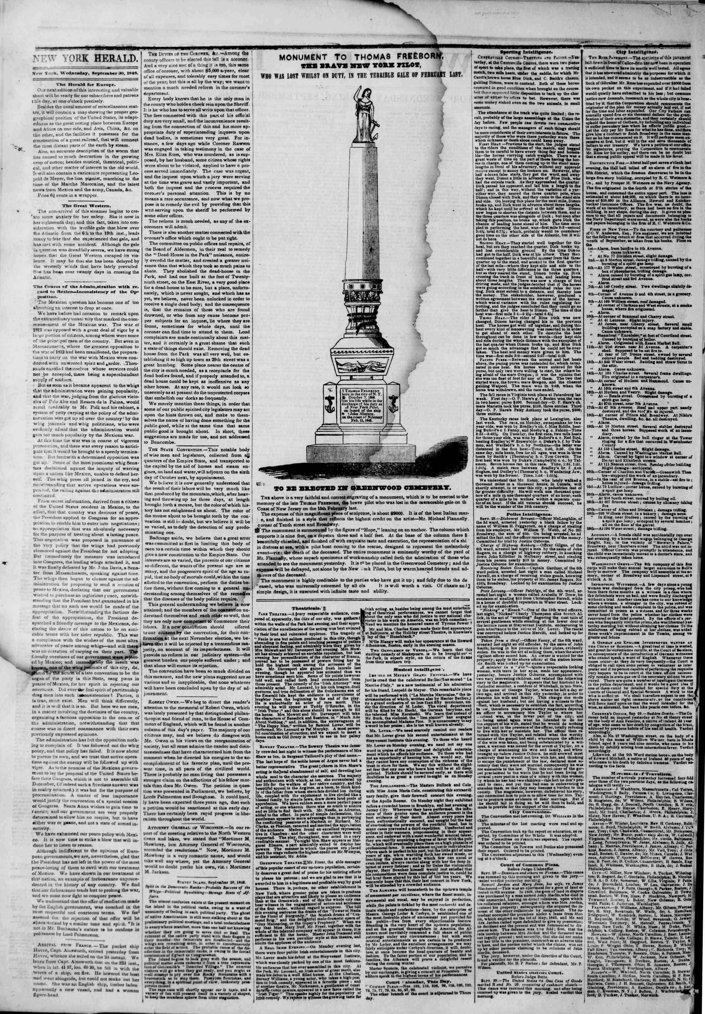 Newspaper of The New York Herald dated September 30, 1846 Page 2