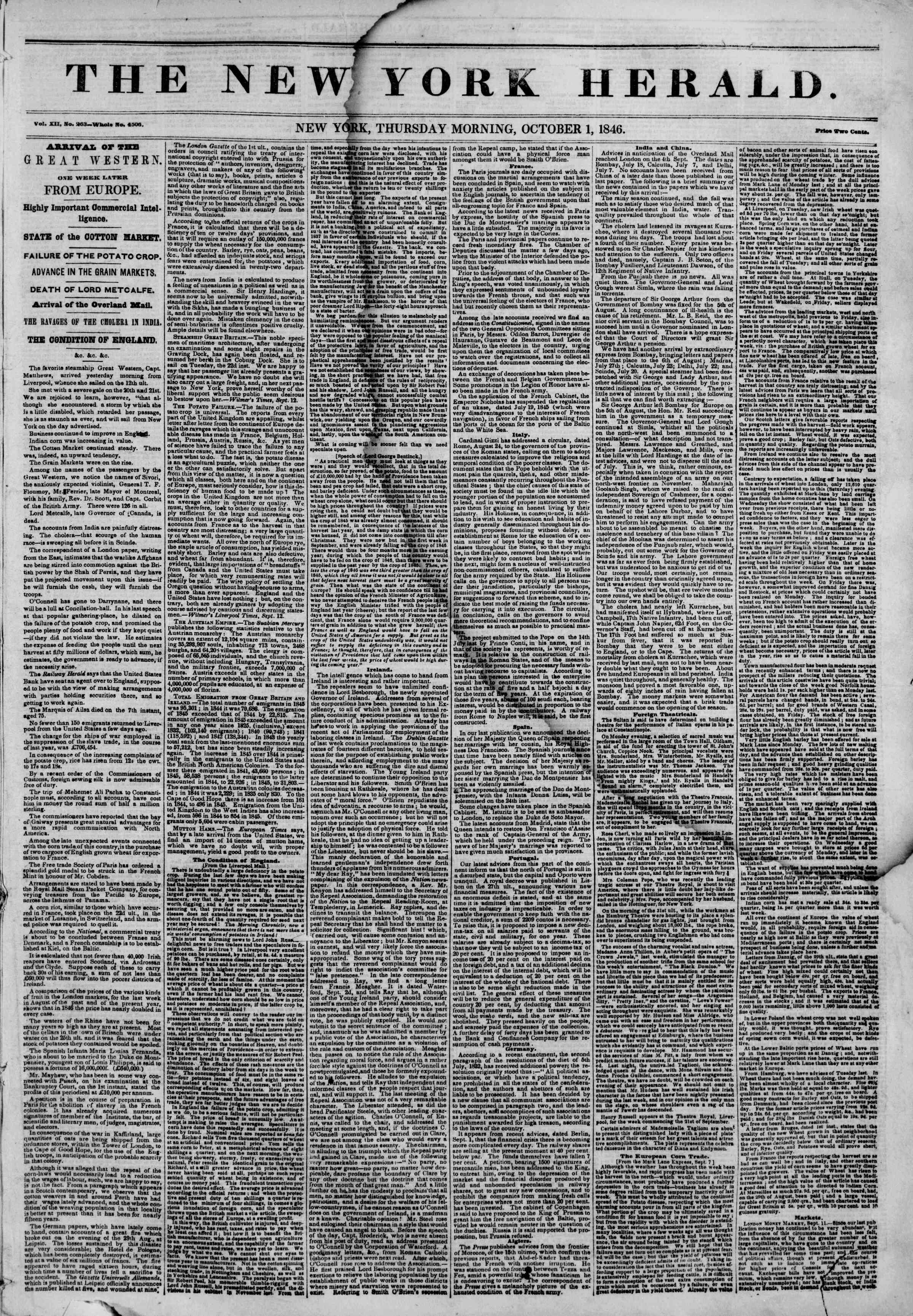 Newspaper of The New York Herald dated October 1, 1846 Page 1