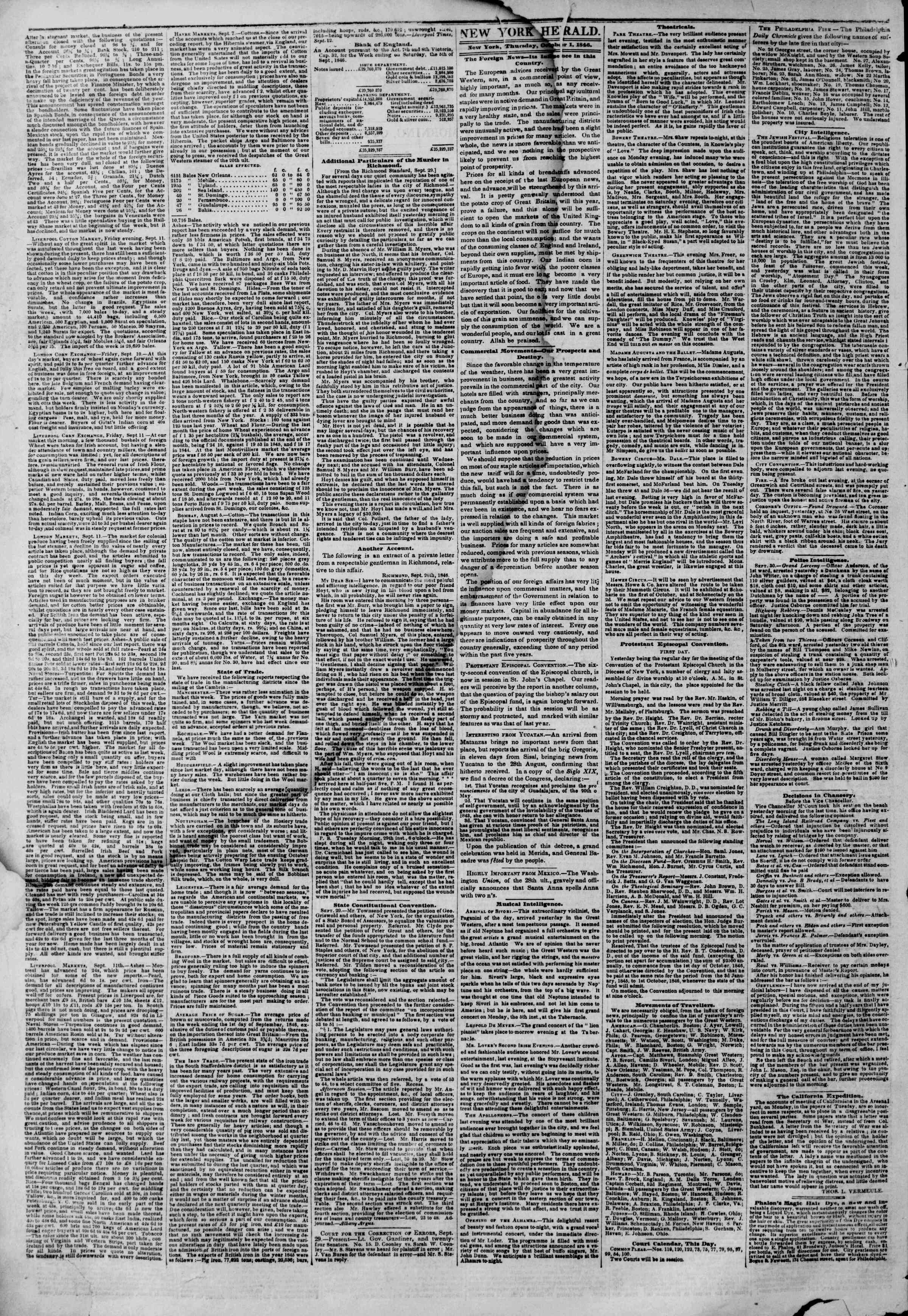 Newspaper of The New York Herald dated October 1, 1846 Page 2