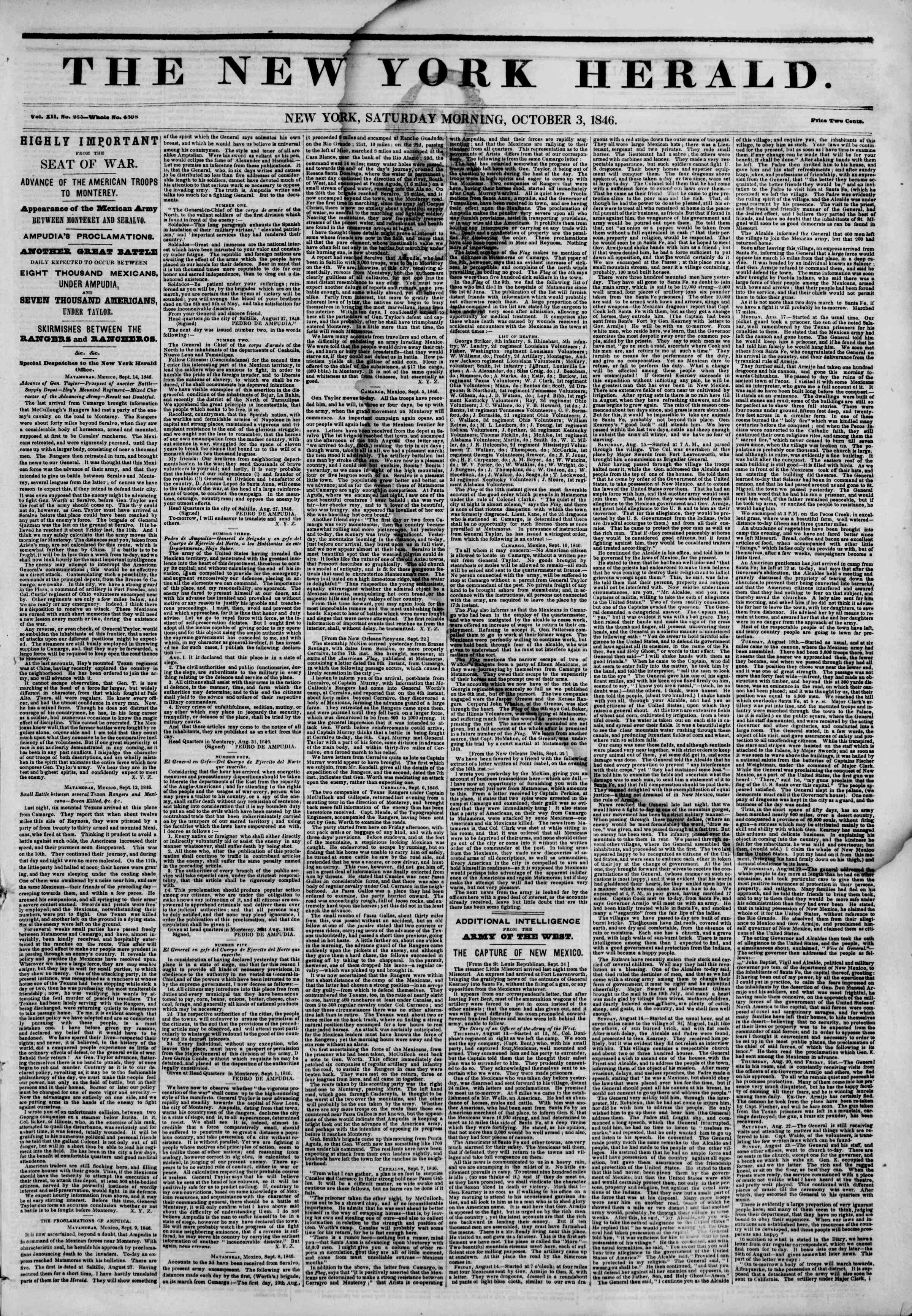 Newspaper of The New York Herald dated October 3, 1846 Page 1