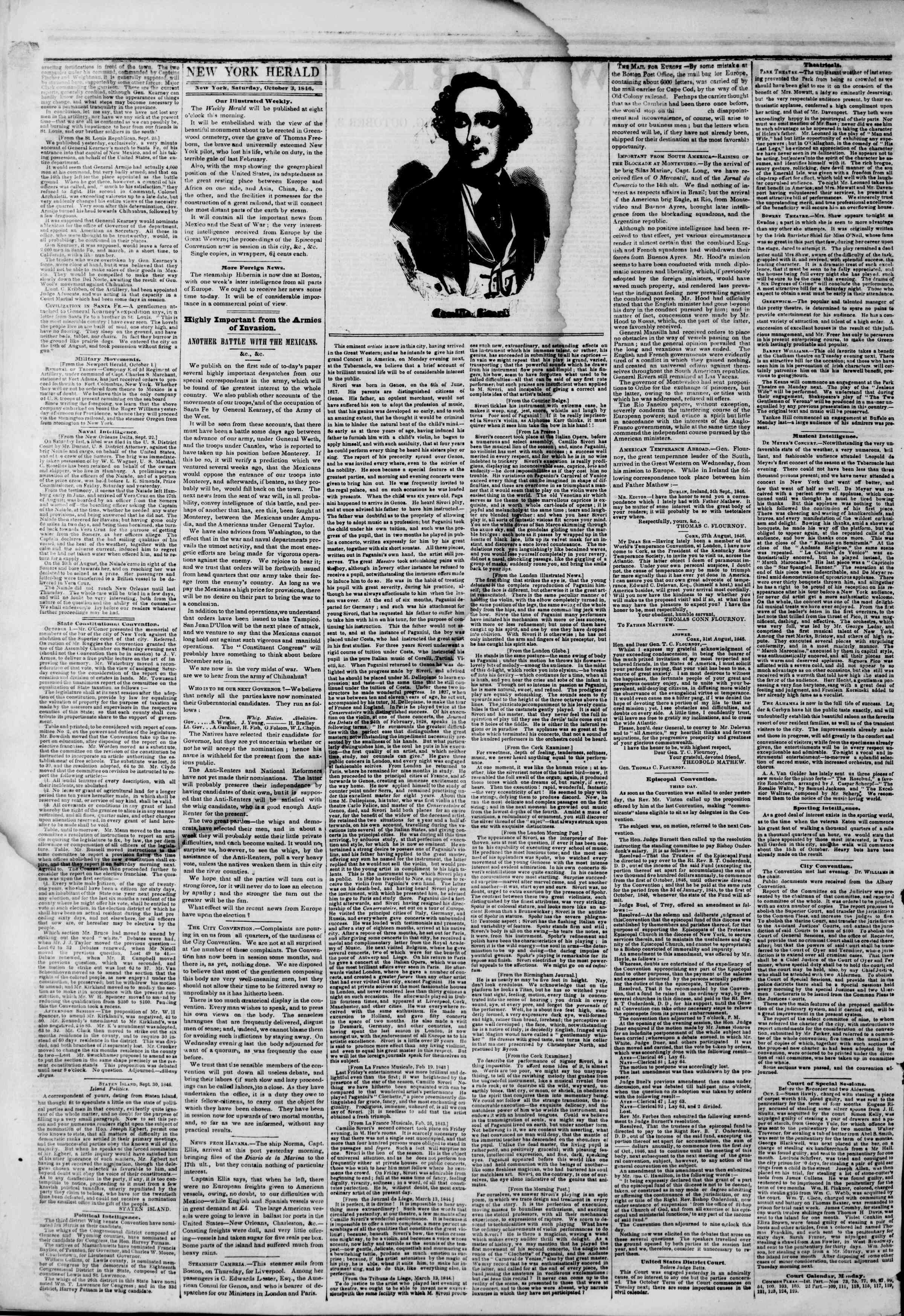Newspaper of The New York Herald dated October 3, 1846 Page 2