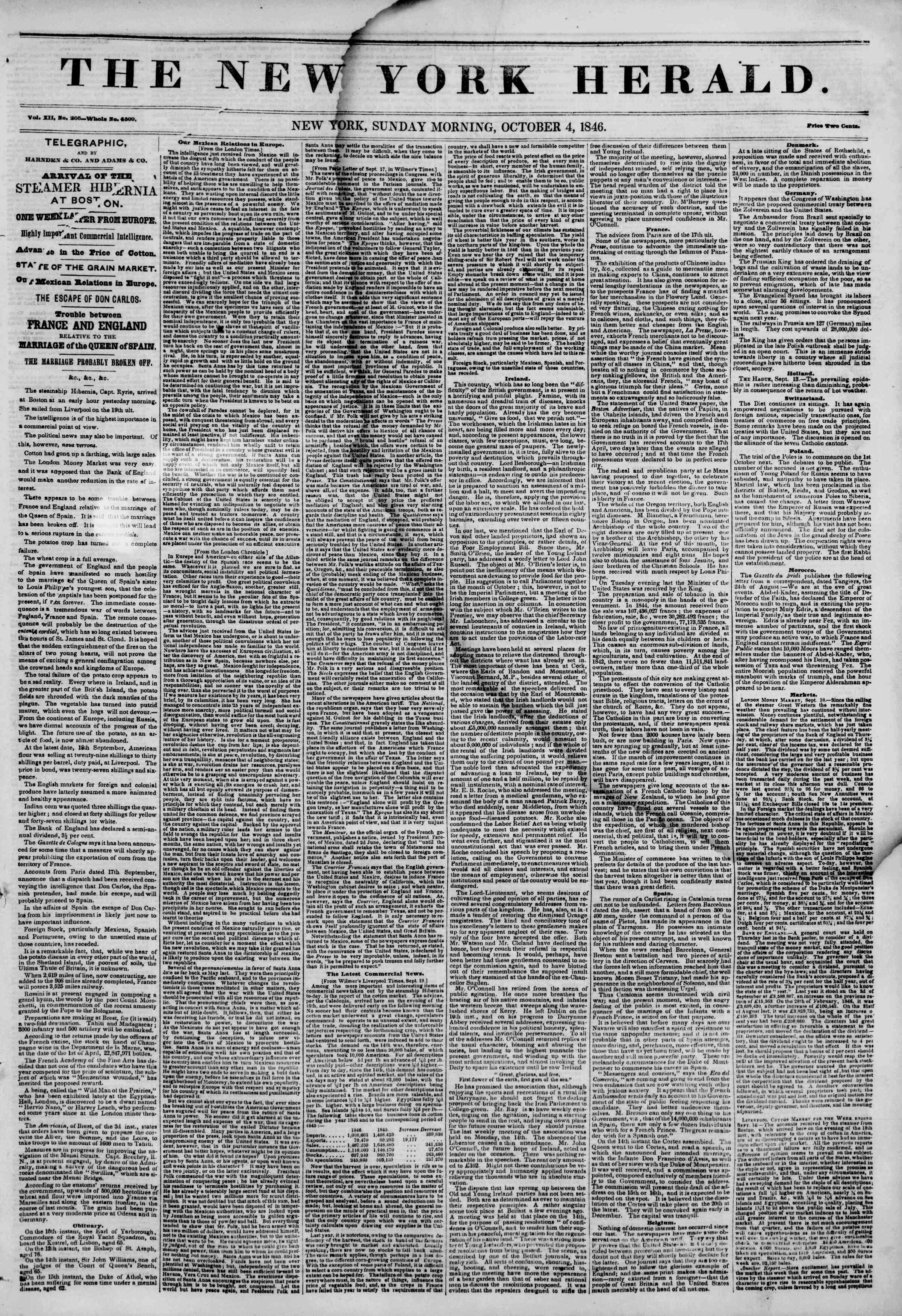 Newspaper of The New York Herald dated October 4, 1846 Page 1