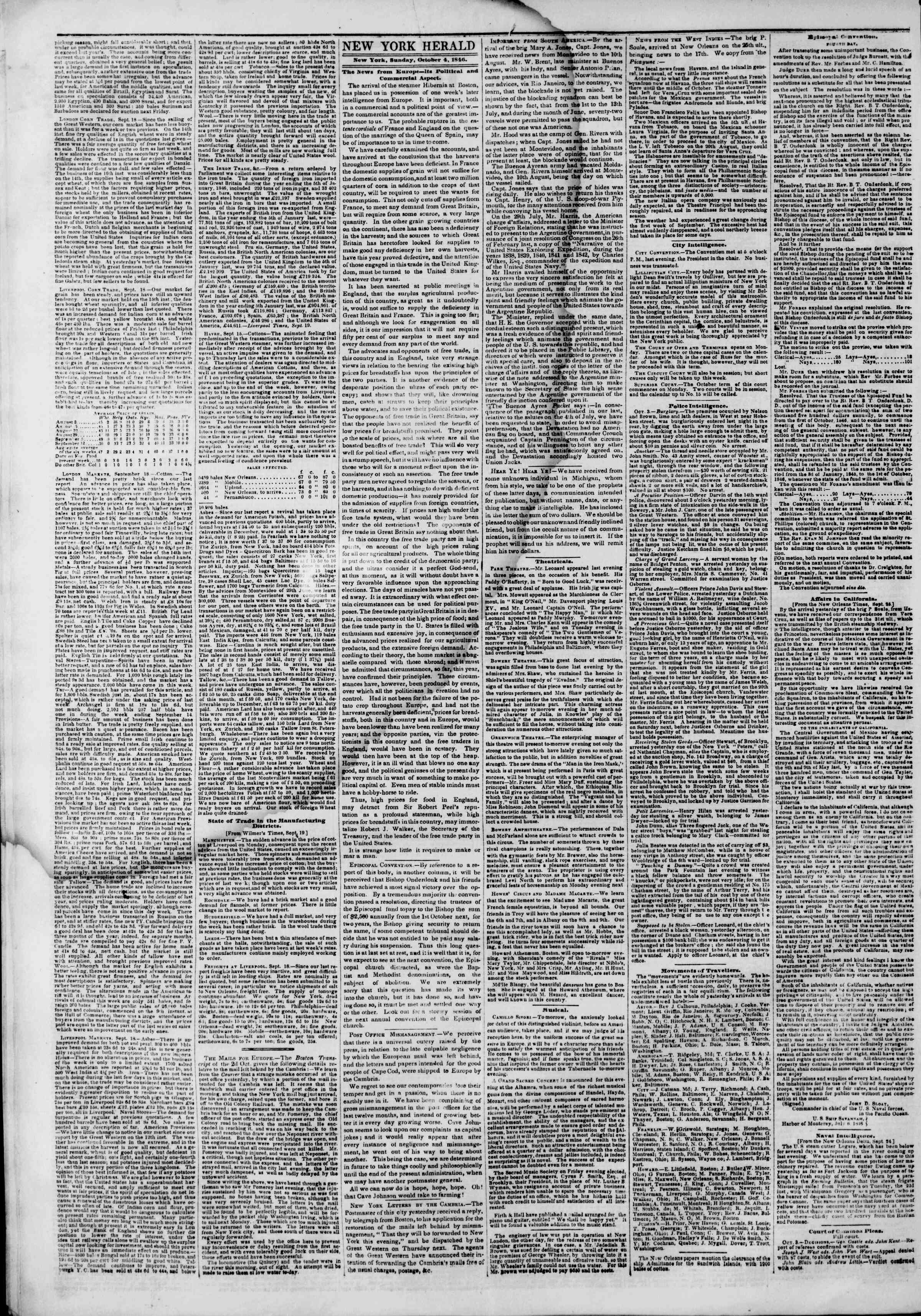 Newspaper of The New York Herald dated October 4, 1846 Page 2