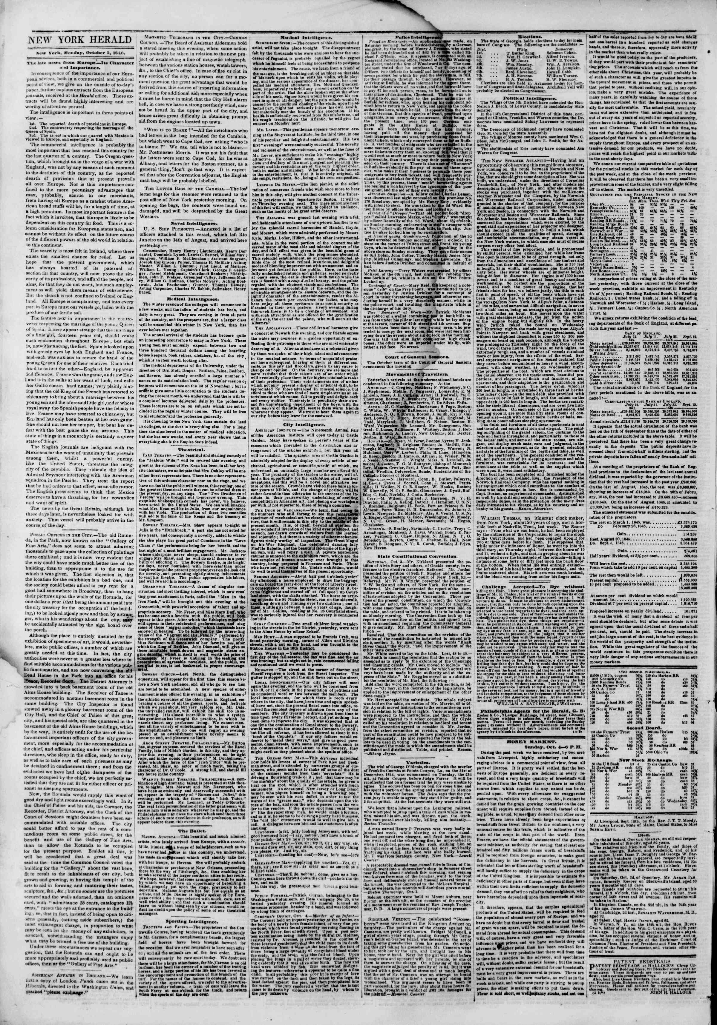 Newspaper of The New York Herald dated October 5, 1846 Page 2