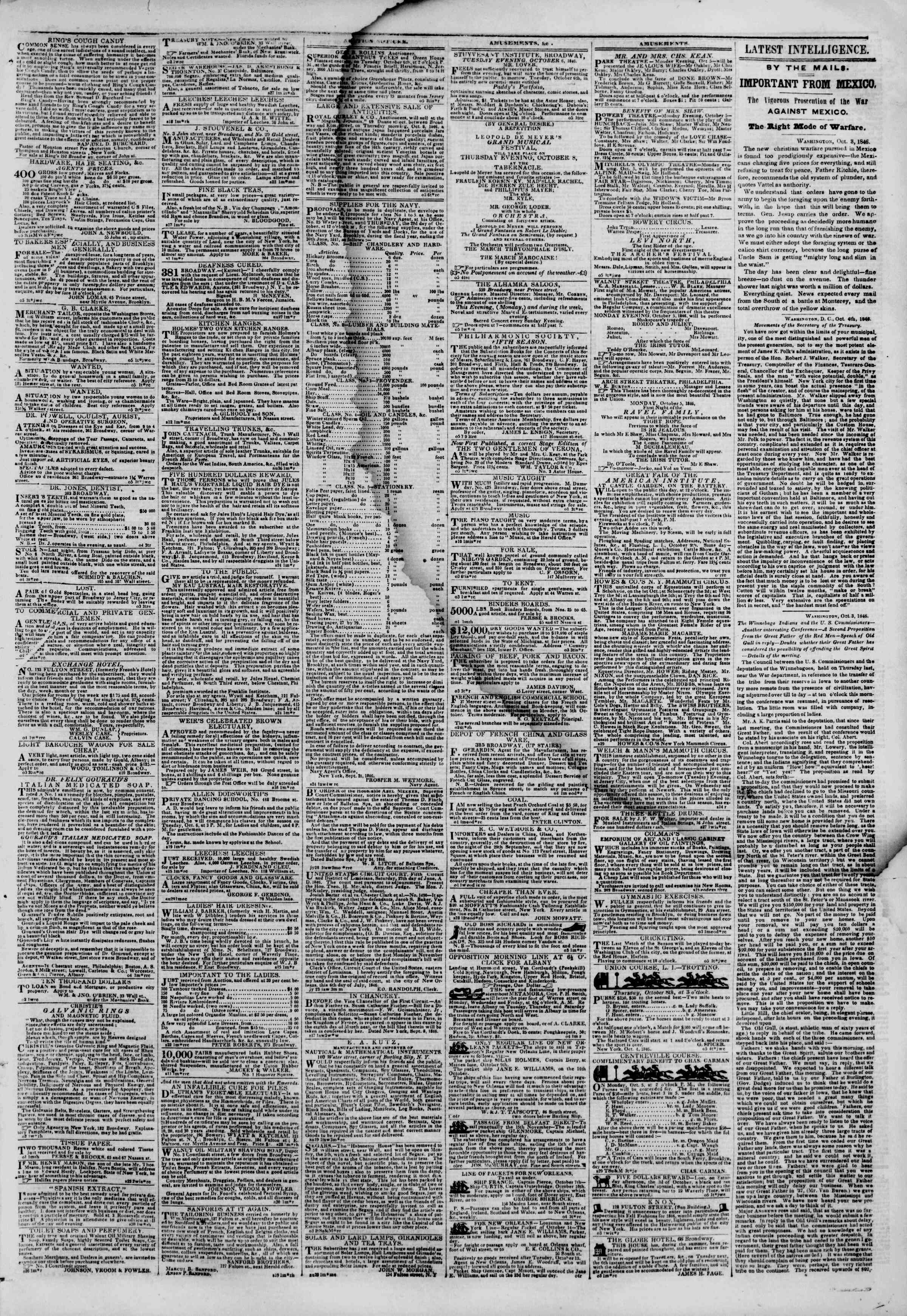 Newspaper of The New York Herald dated October 5, 1846 Page 3