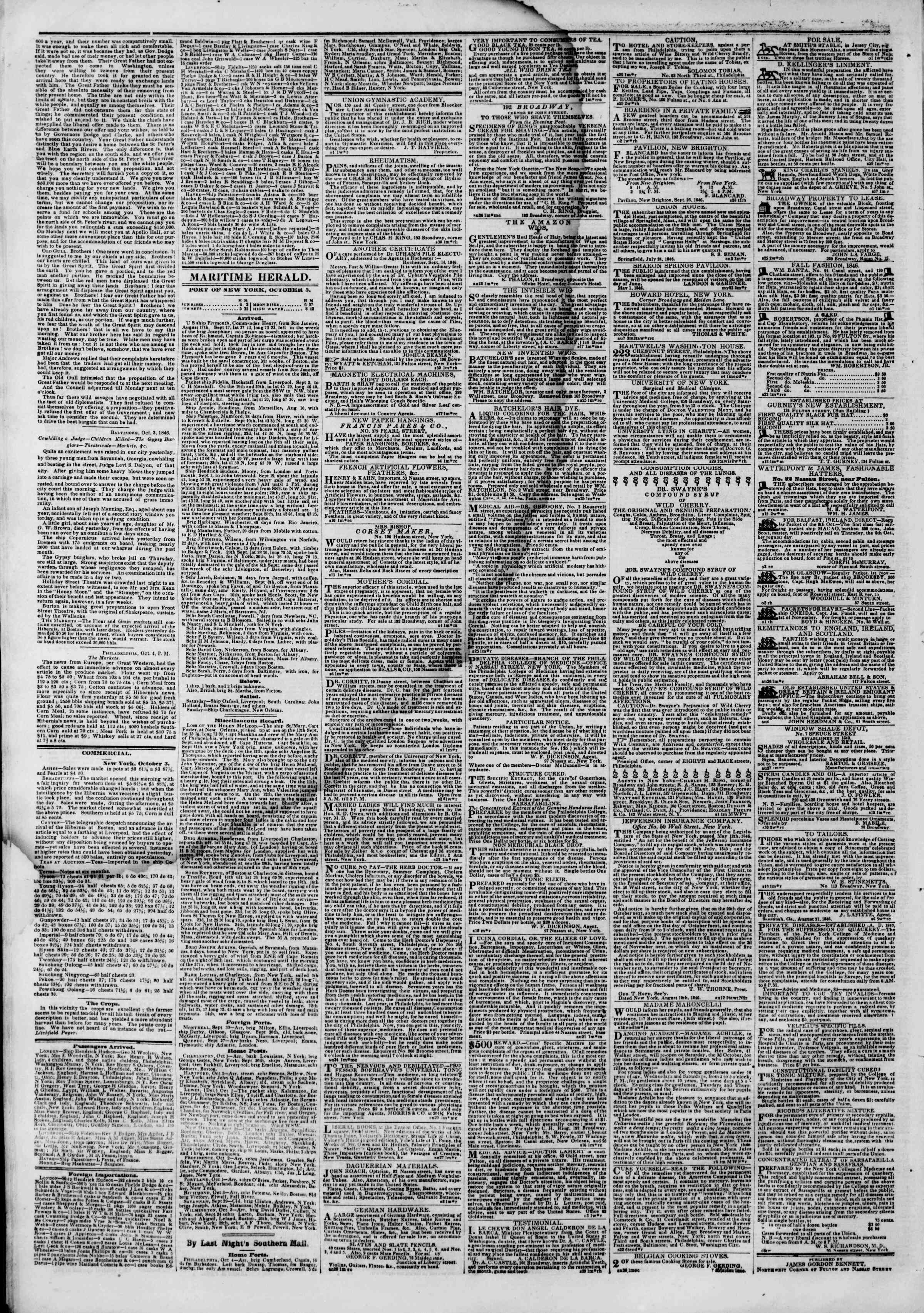 Newspaper of The New York Herald dated October 5, 1846 Page 4