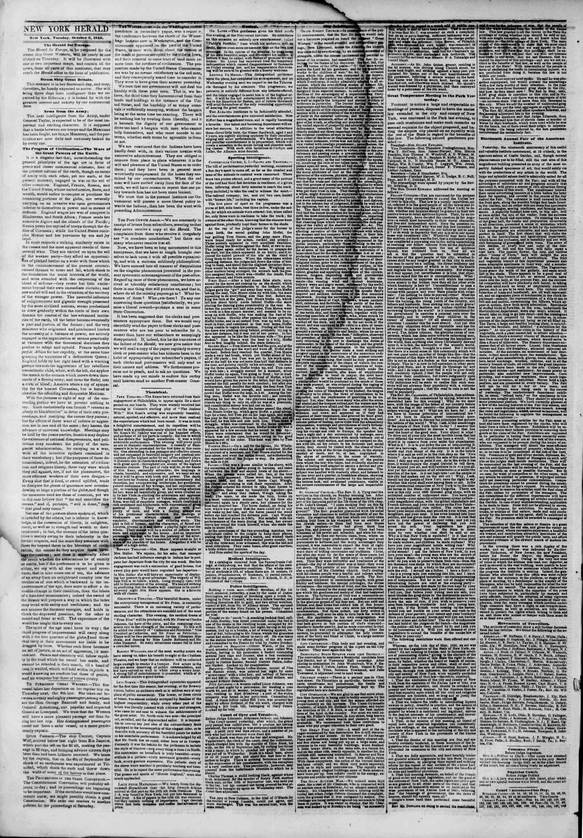 Newspaper of The New York Herald dated October 6, 1846 Page 2