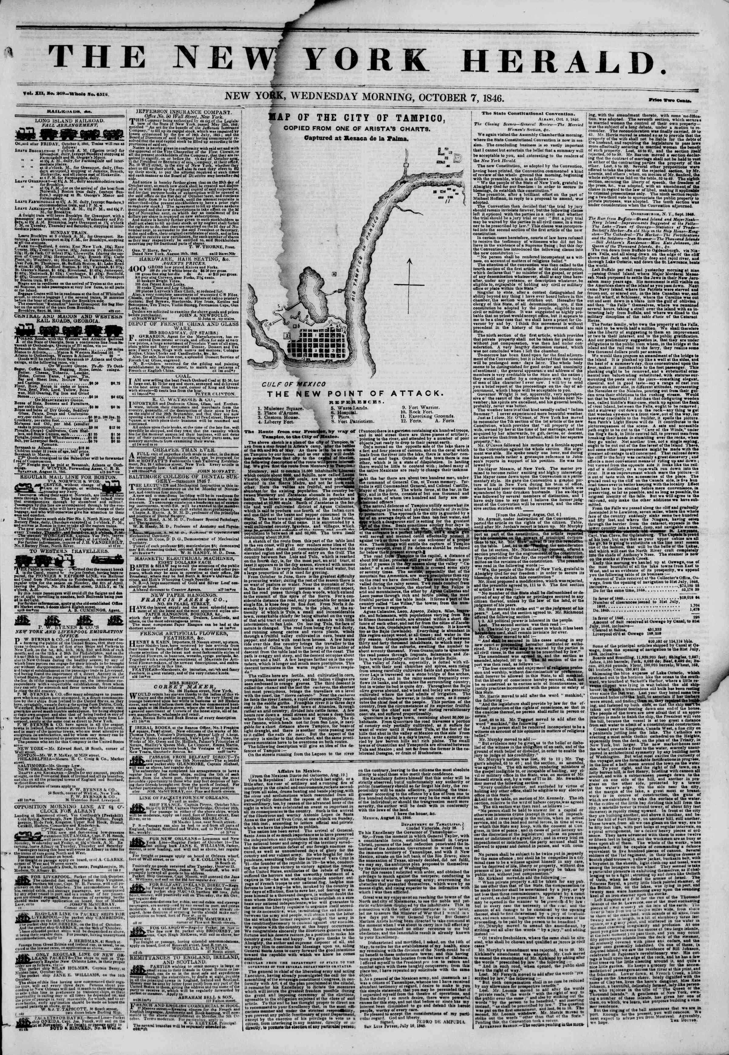 Newspaper of The New York Herald dated October 7, 1846 Page 1