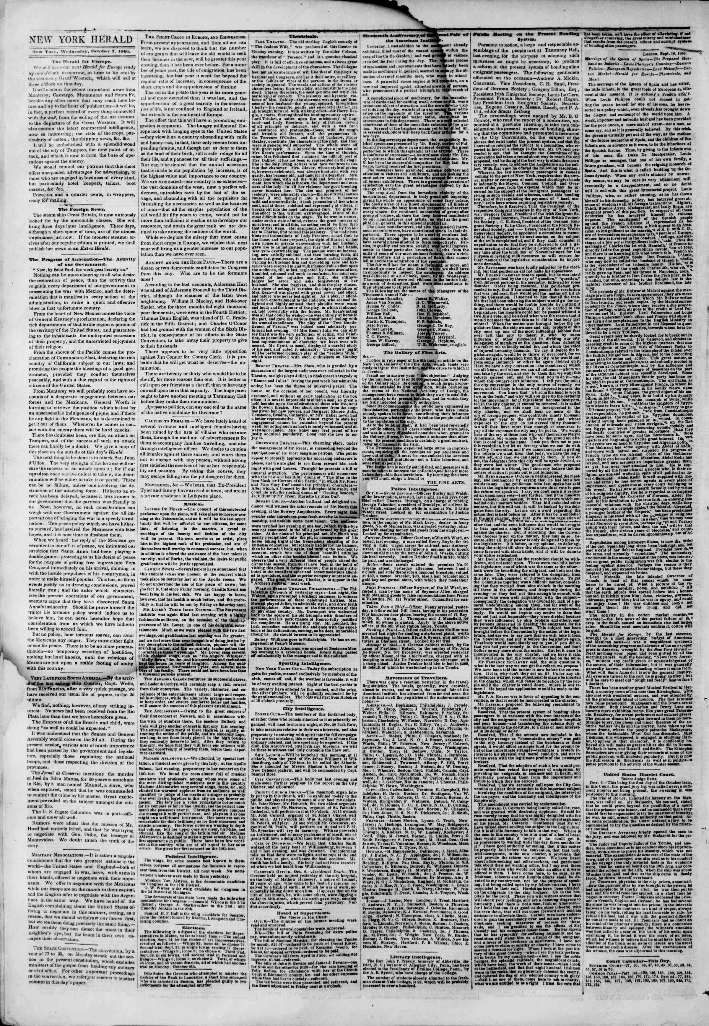 Newspaper of The New York Herald dated October 7, 1846 Page 2