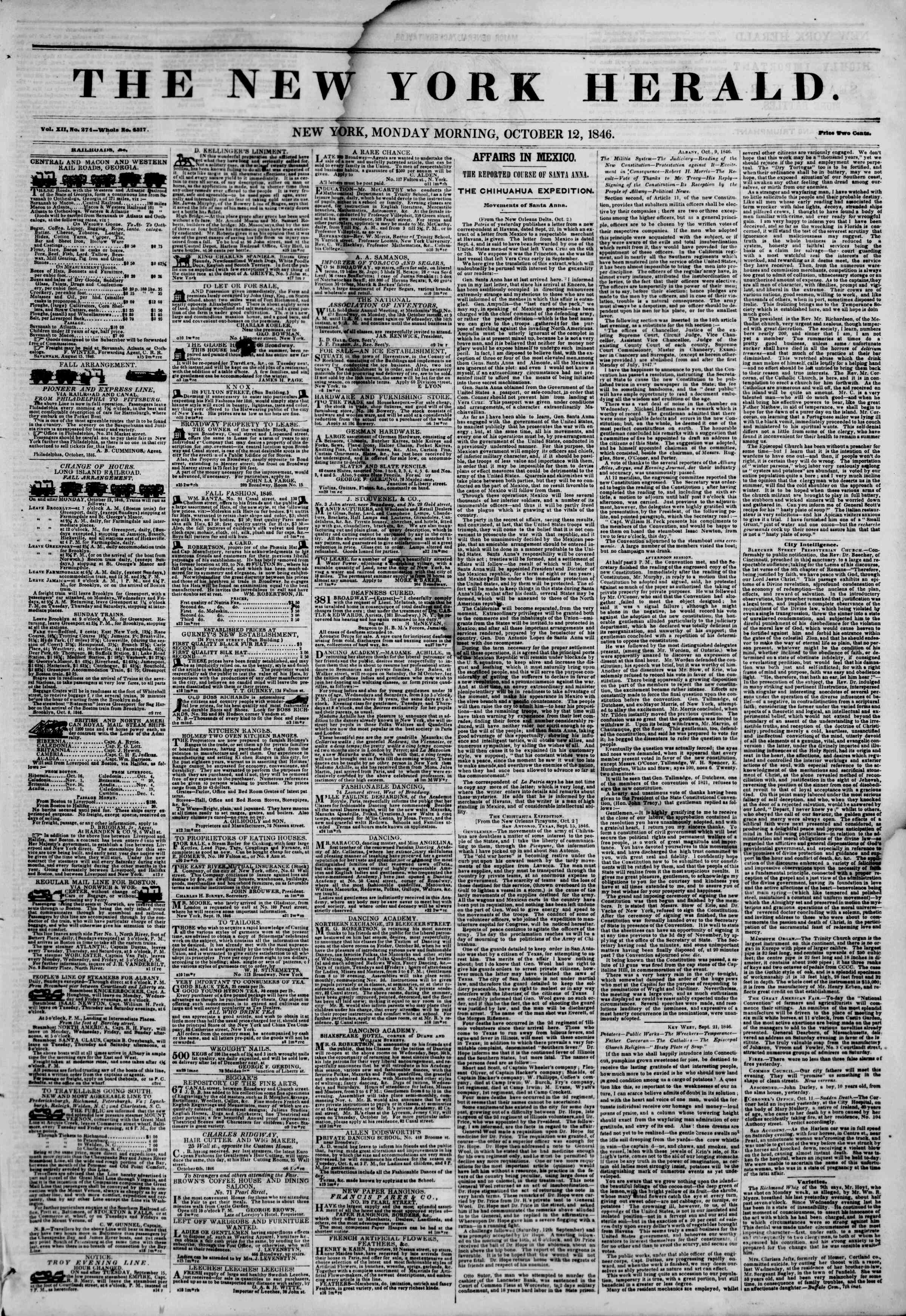 Newspaper of The New York Herald dated October 12, 1846 Page 1