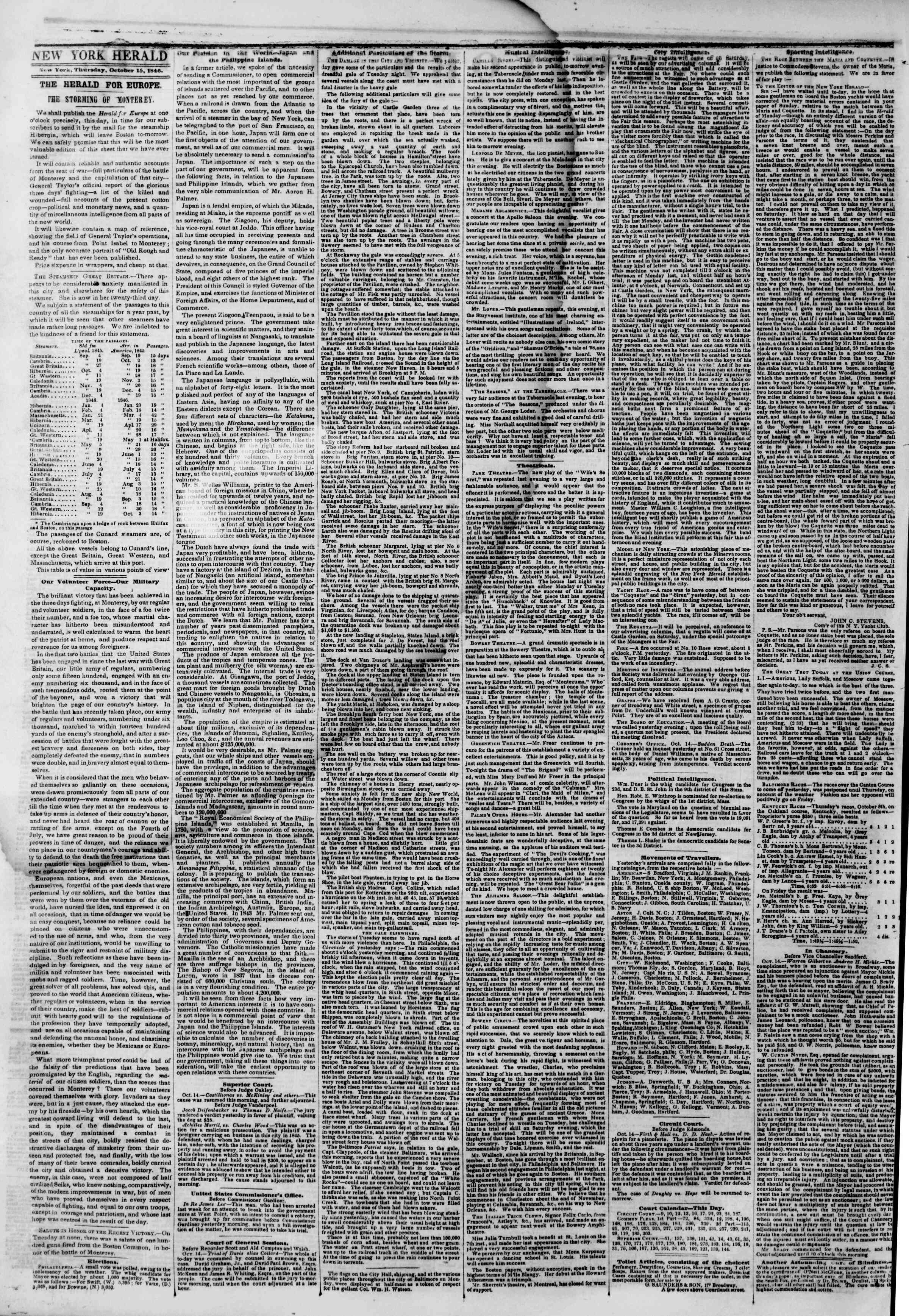 15 Ekim 1846 tarihli The New York Herald Gazetesi Sayfa 2