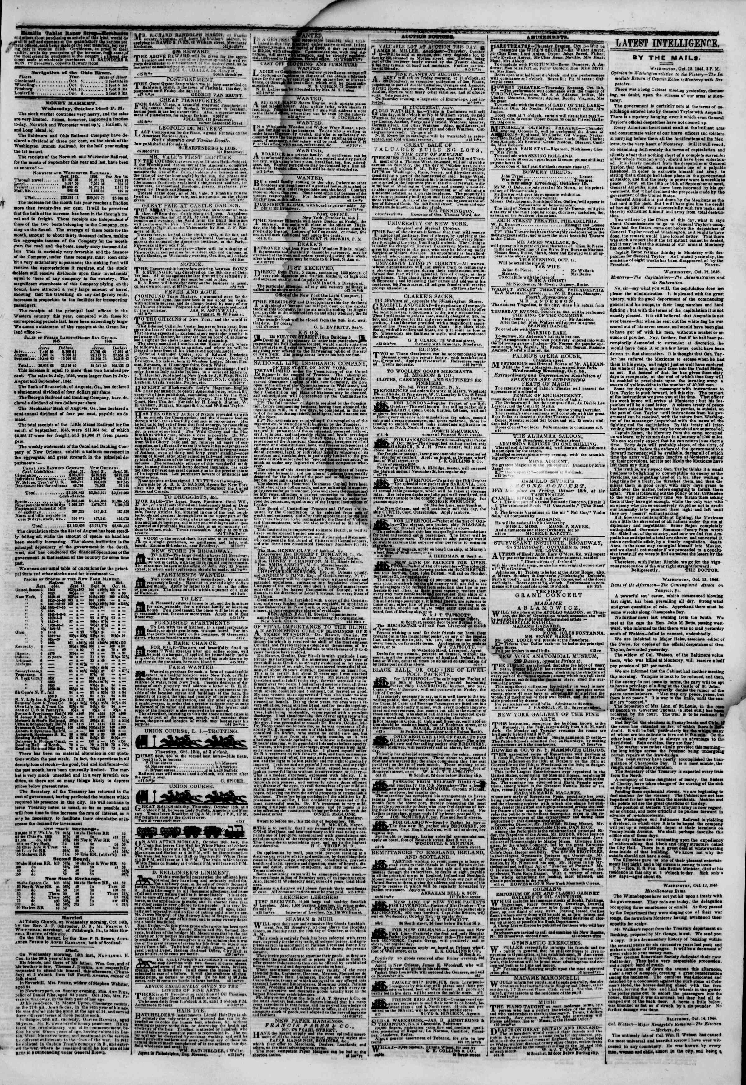 Newspaper of The New York Herald dated October 15, 1846 Page 3
