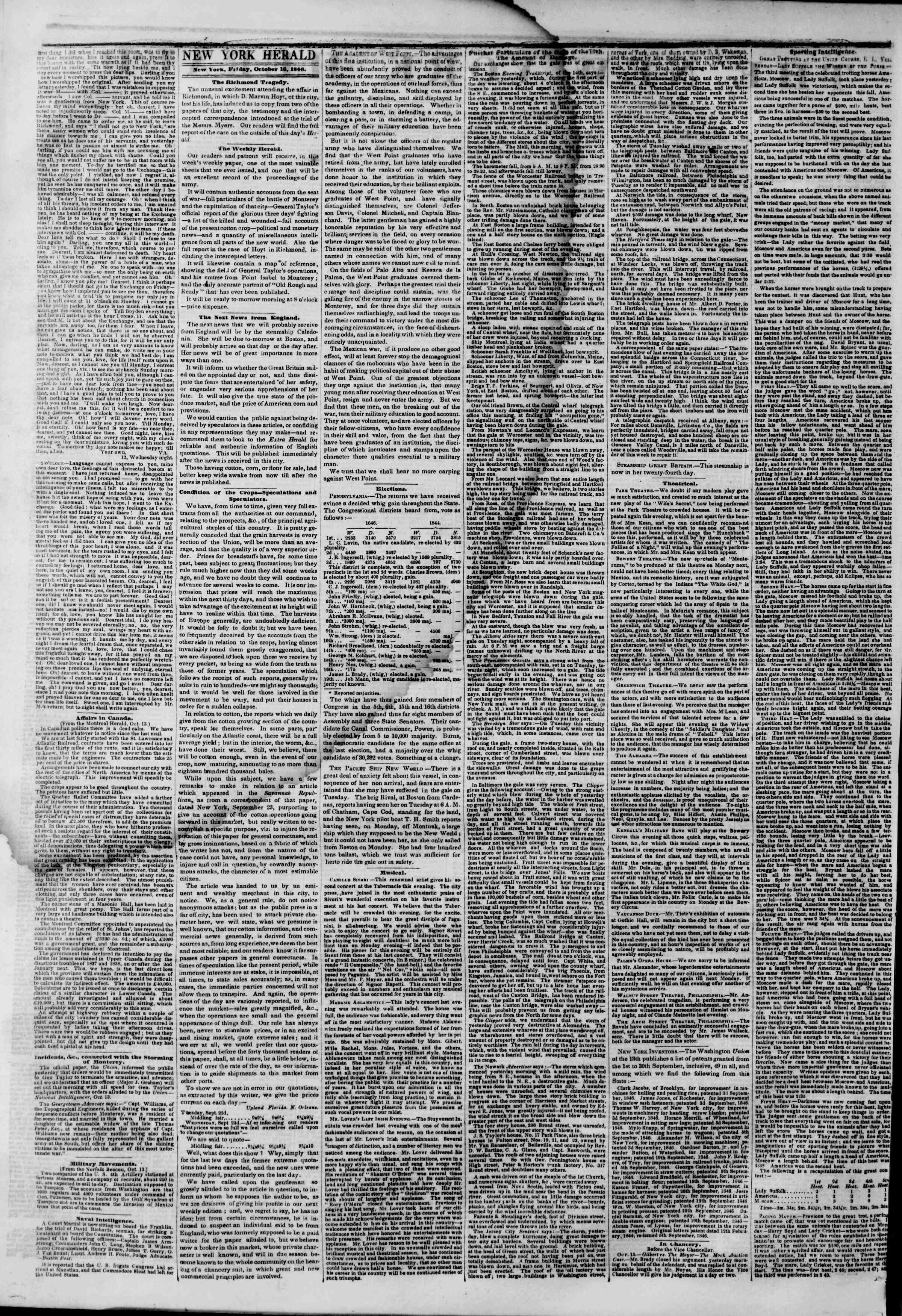 Newspaper of The New York Herald dated October 16, 1846 Page 2