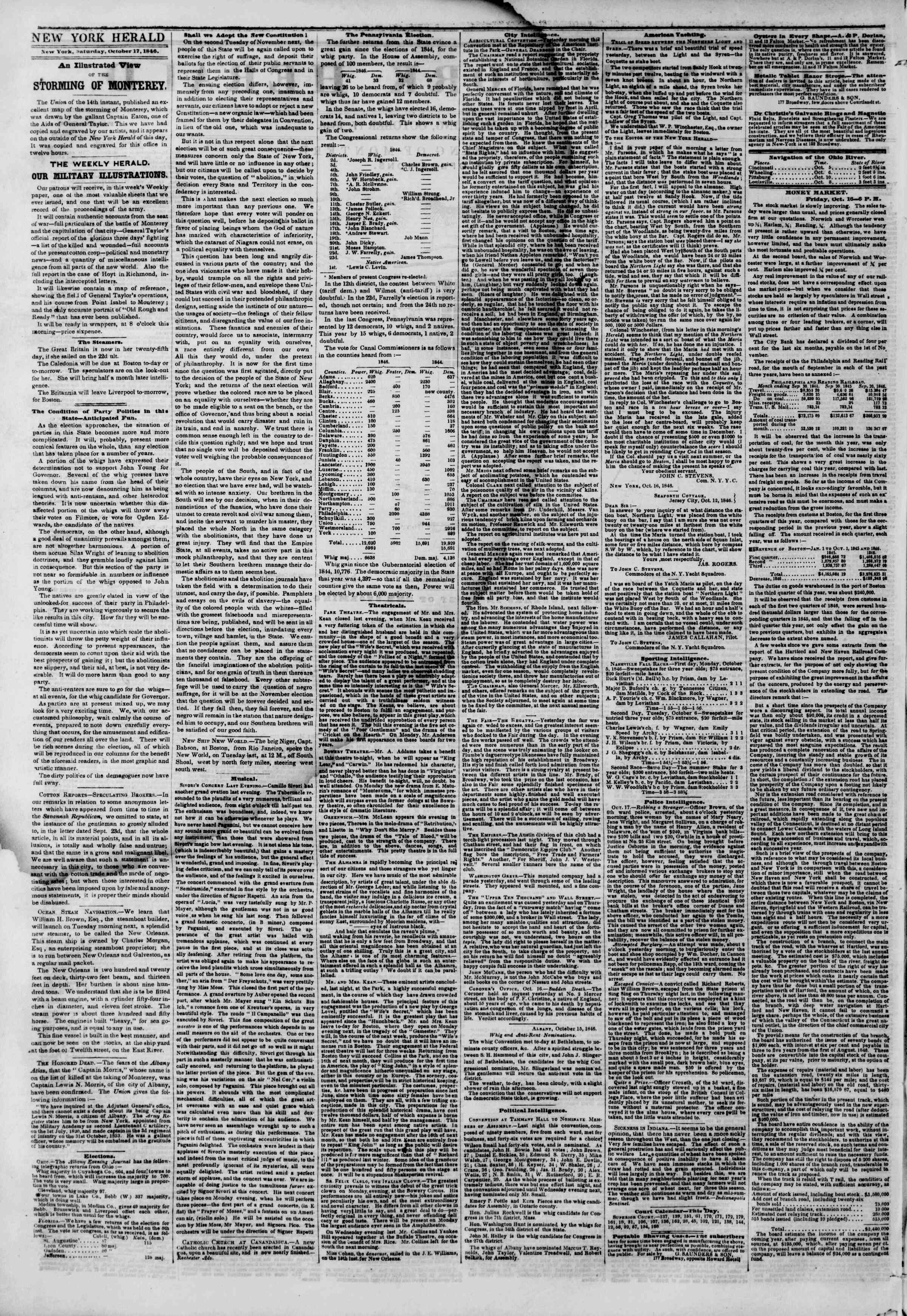 Newspaper of The New York Herald dated October 17, 1846 Page 2