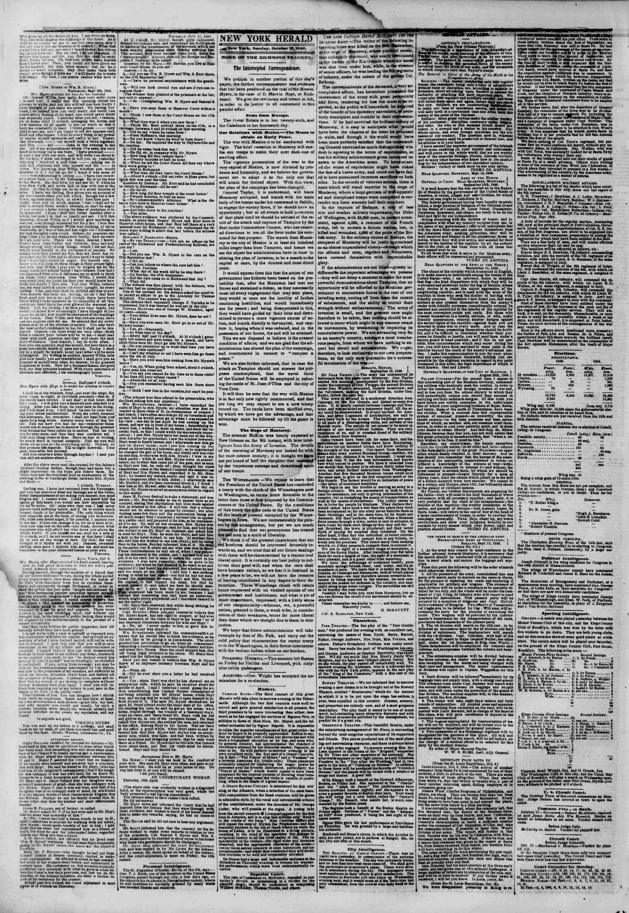 Newspaper of The New York Herald dated October 18, 1846 Page 2