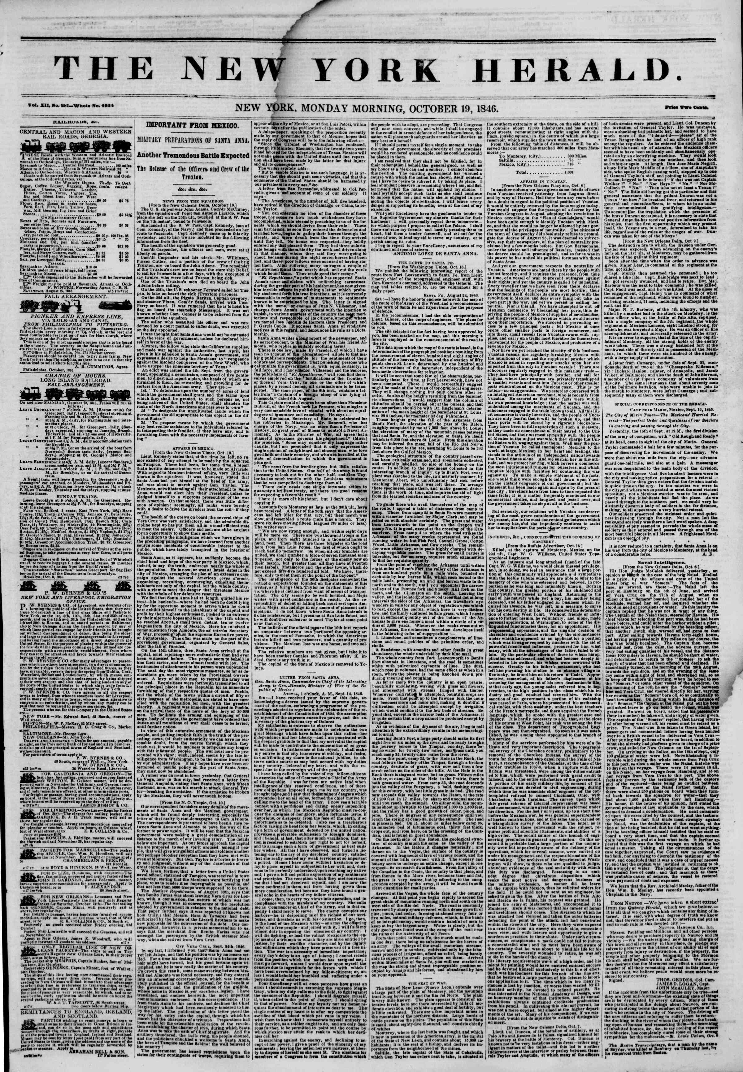 Newspaper of The New York Herald dated October 19, 1846 Page 1