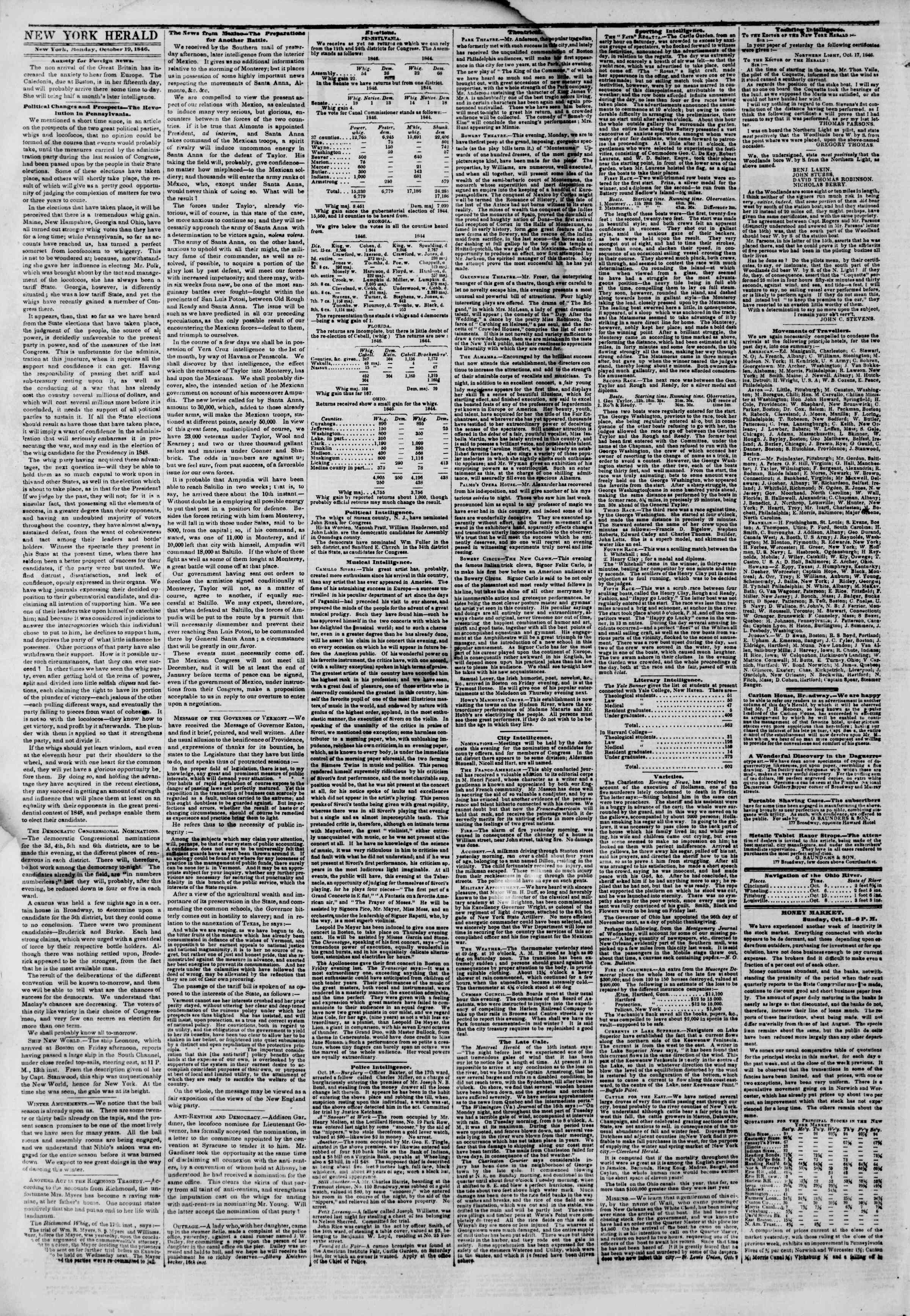 Newspaper of The New York Herald dated October 19, 1846 Page 2