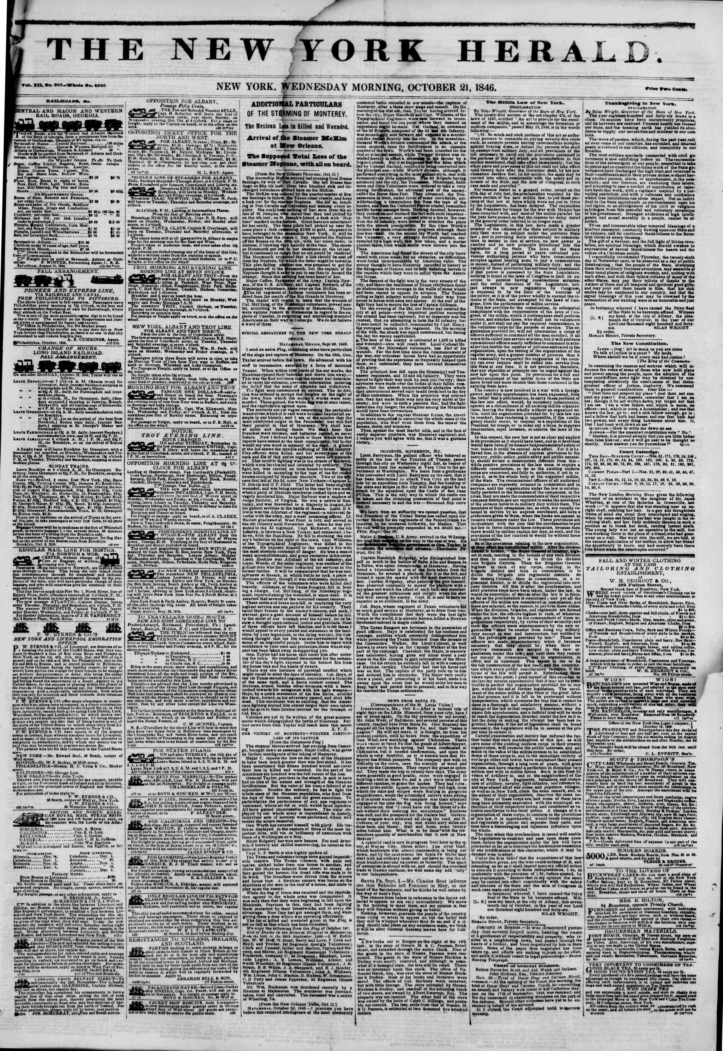 Newspaper of The New York Herald dated October 21, 1846 Page 1