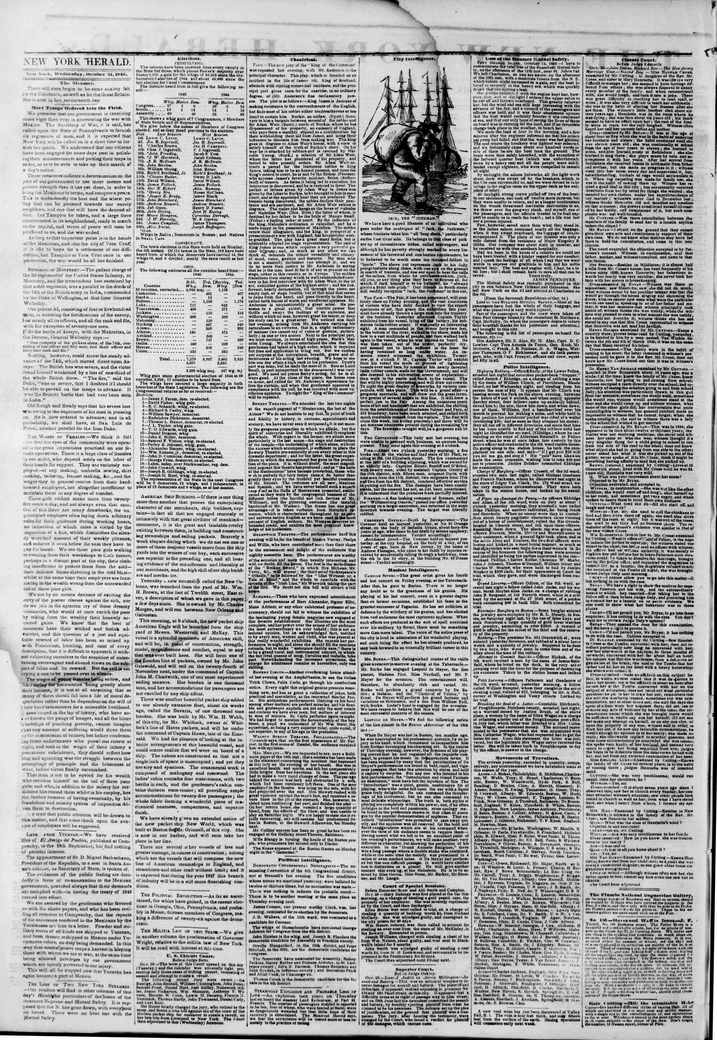 Newspaper of The New York Herald dated October 21, 1846 Page 2