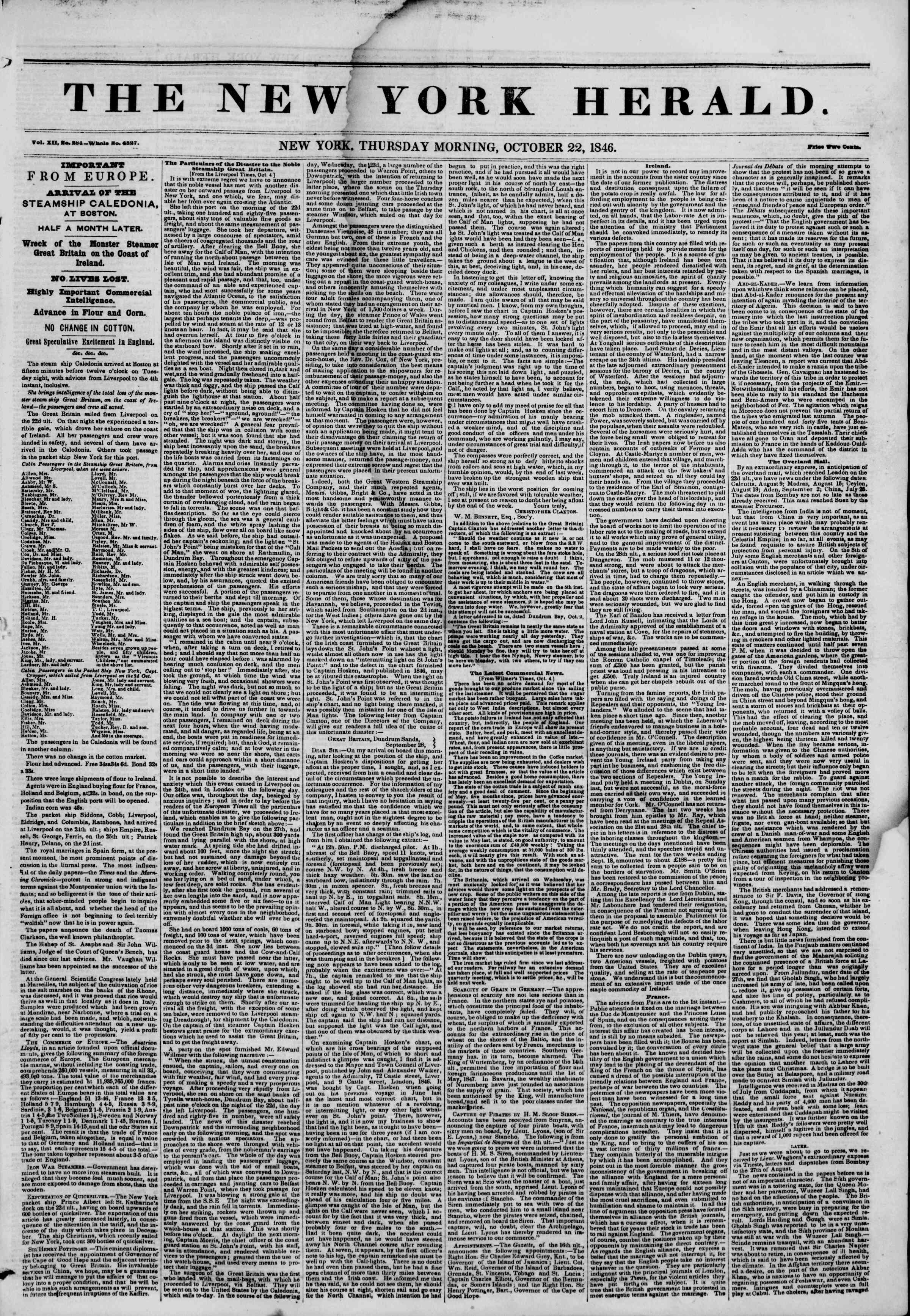 Newspaper of The New York Herald dated October 22, 1846 Page 1