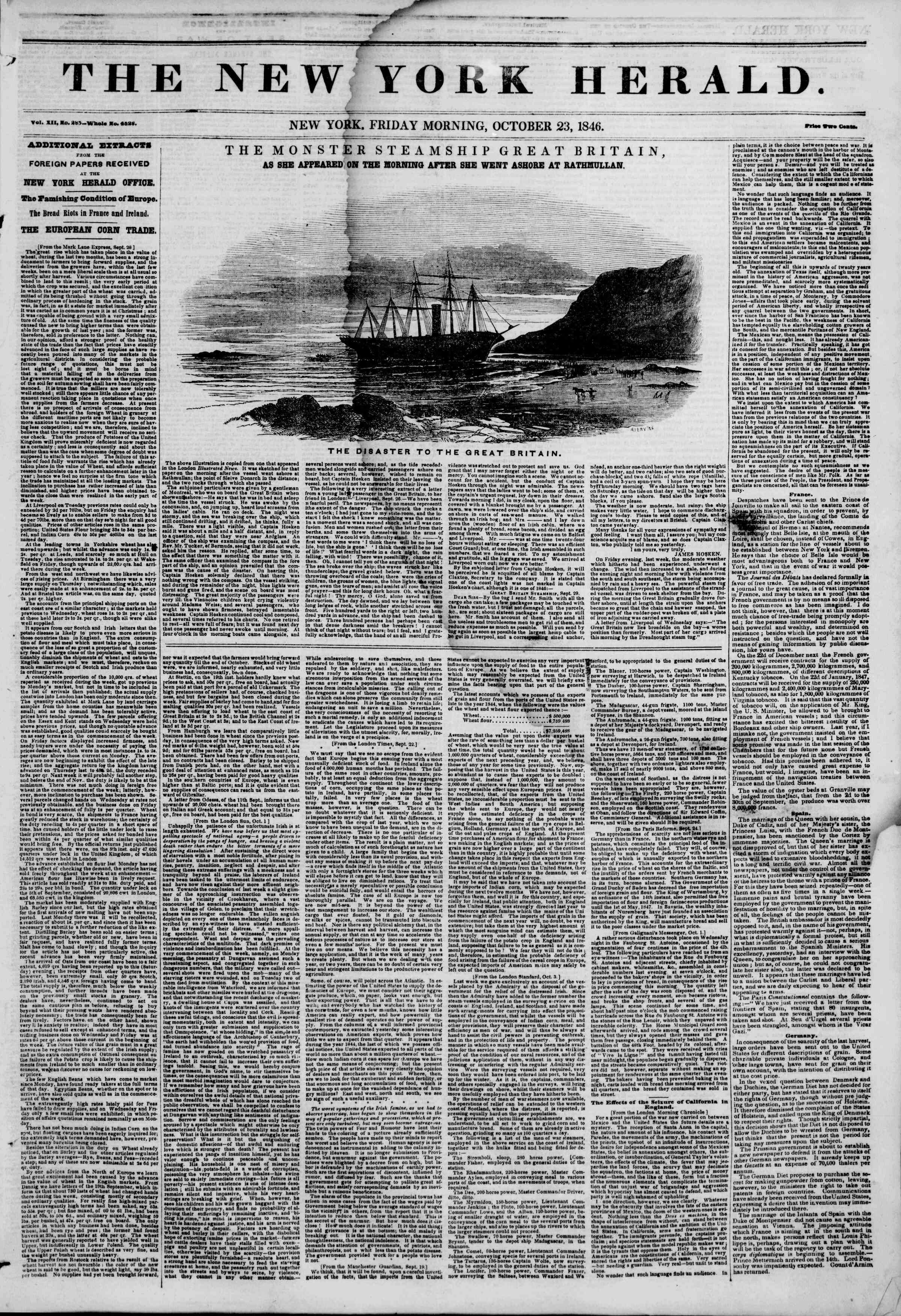 Newspaper of The New York Herald dated October 23, 1846 Page 1