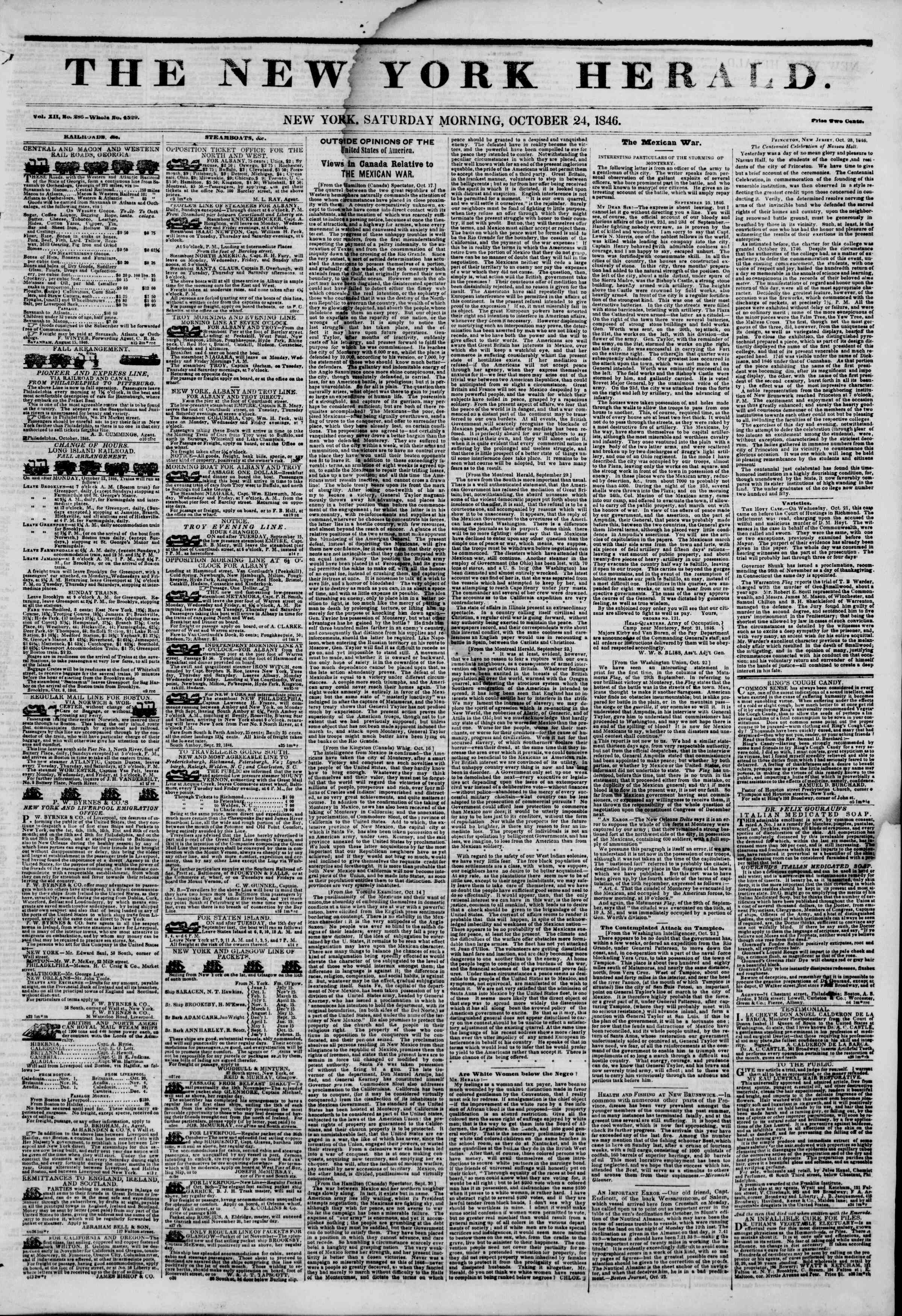 Newspaper of The New York Herald dated October 24, 1846 Page 1