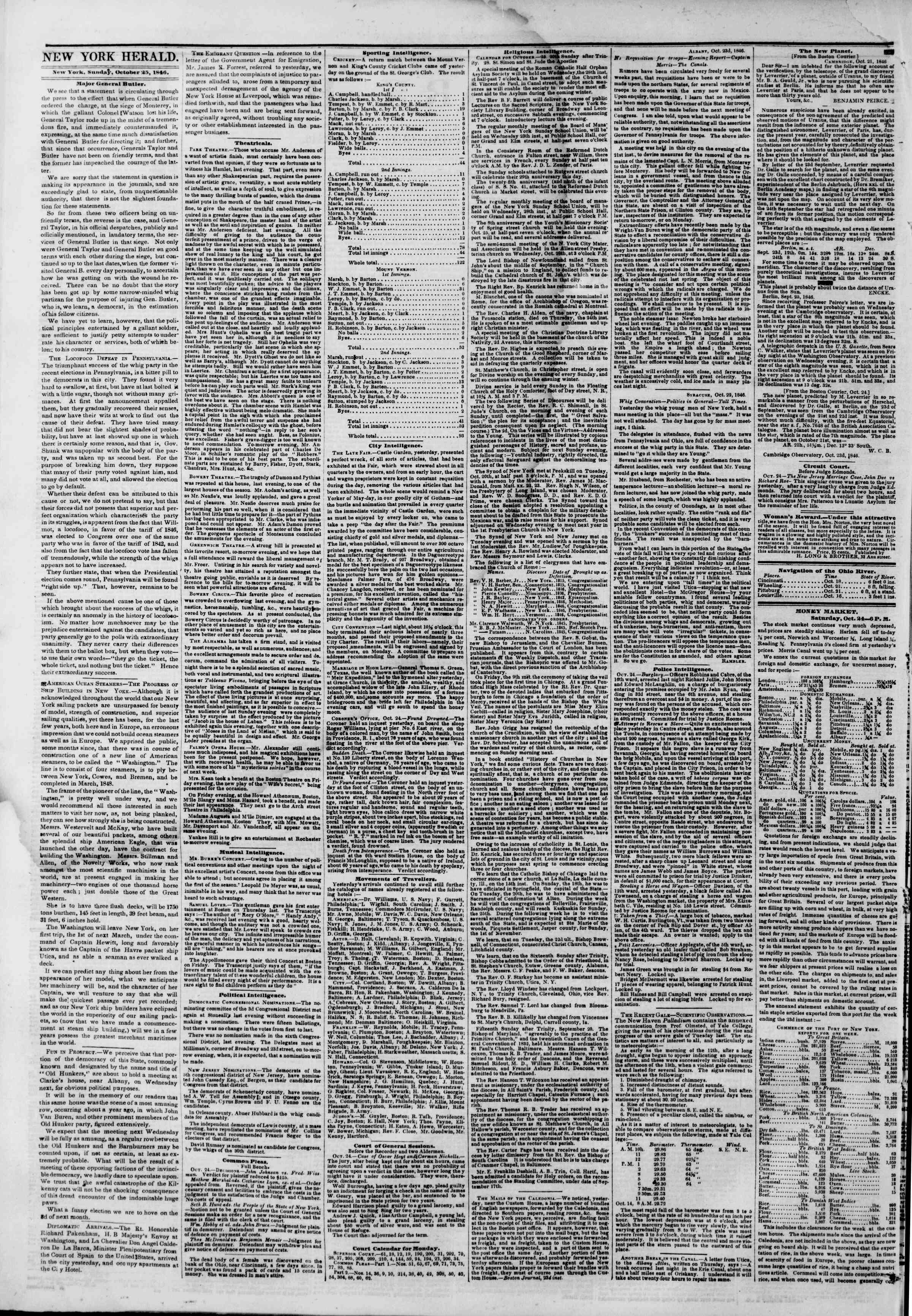 Newspaper of The New York Herald dated October 25, 1846 Page 2