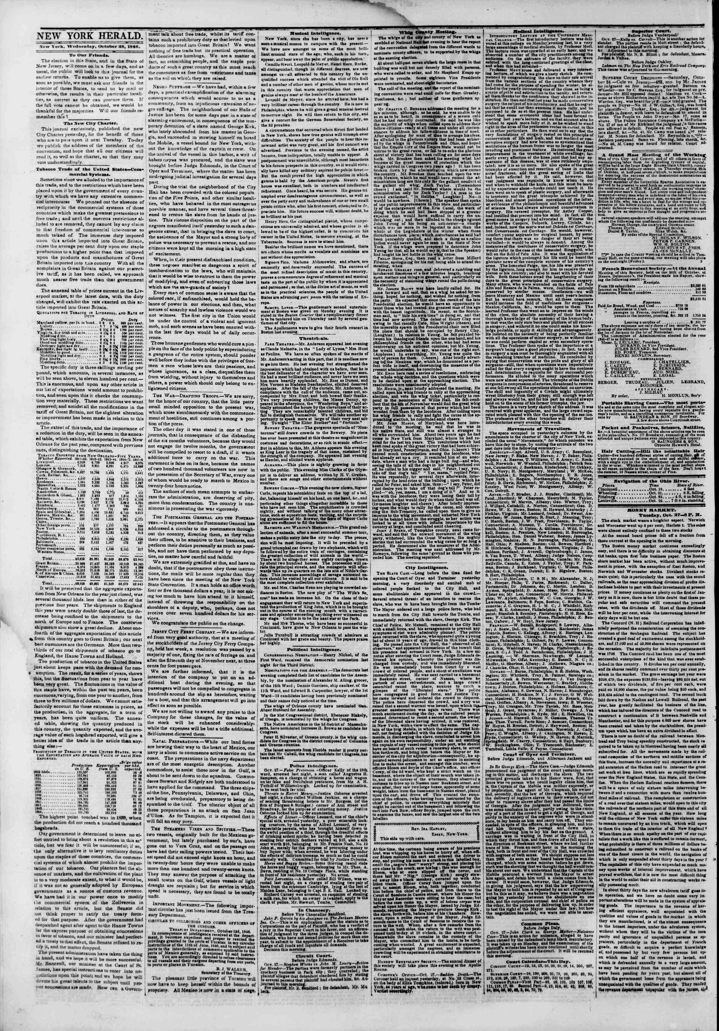 Newspaper of The New York Herald dated October 28, 1846 Page 2