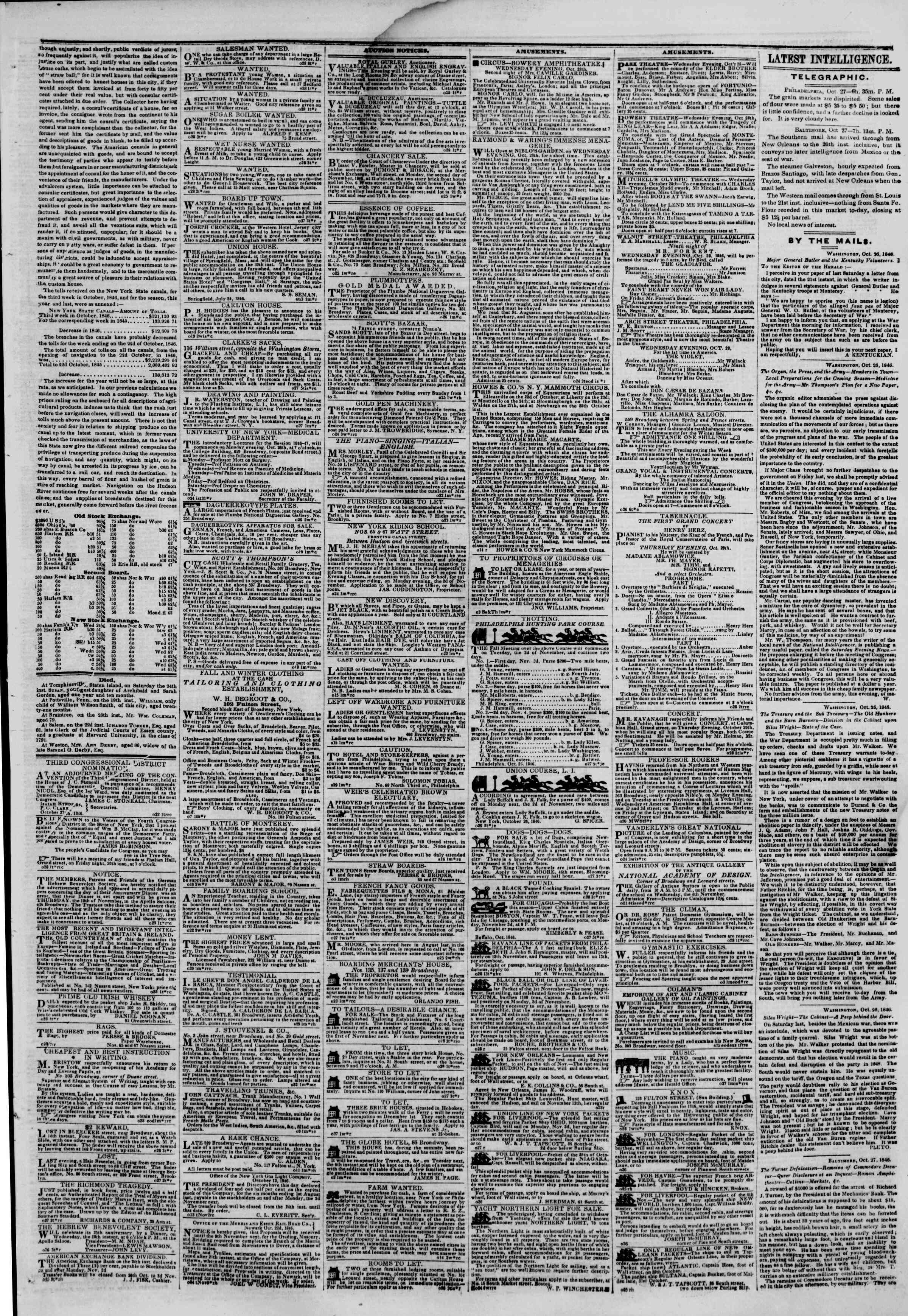 Newspaper of The New York Herald dated October 28, 1846 Page 3