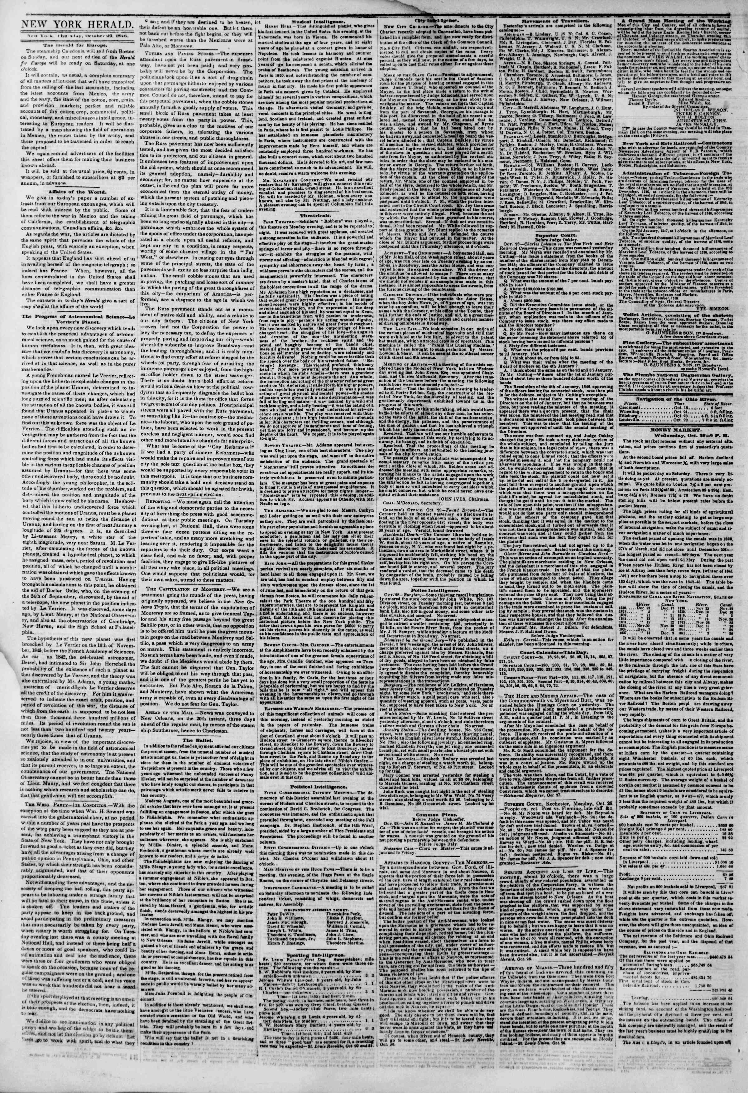 Newspaper of The New York Herald dated 29 Ekim 1846 Page 2