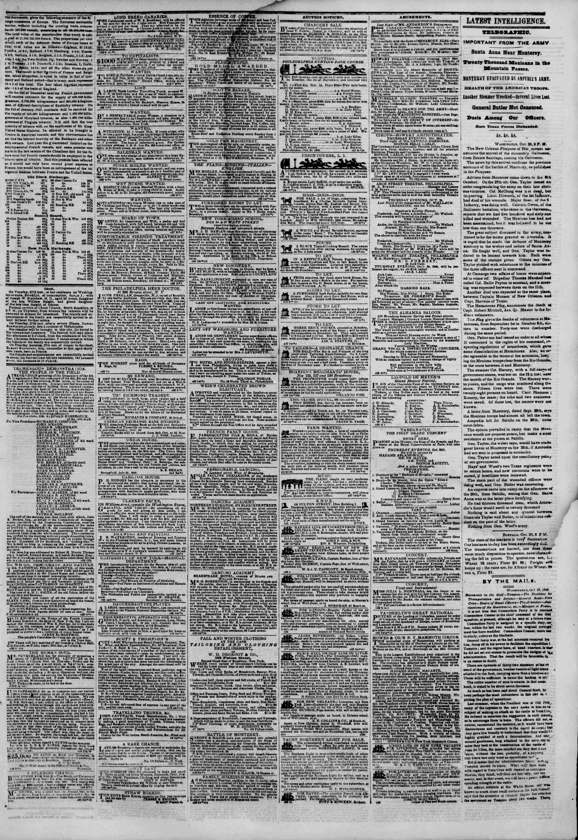 Newspaper of The New York Herald dated October 29, 1846 Page 3