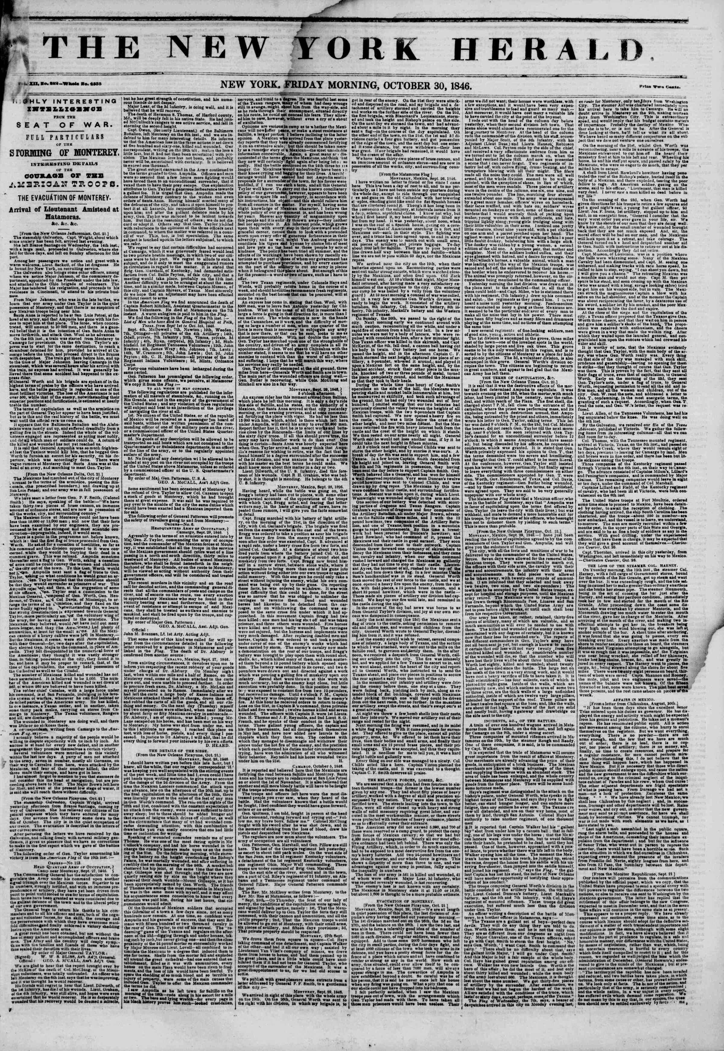 Newspaper of The New York Herald dated October 30, 1846 Page 1