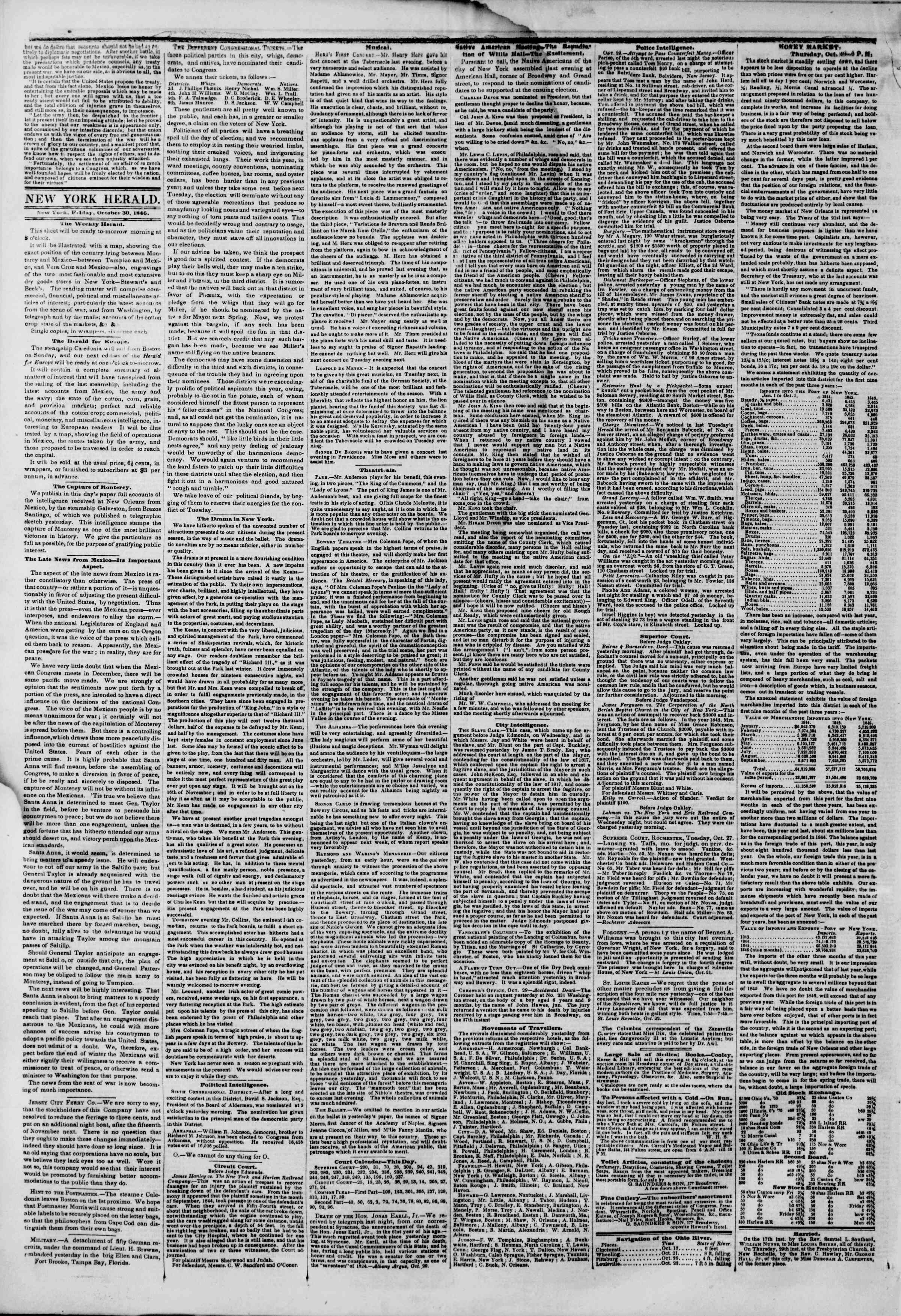 Newspaper of The New York Herald dated October 30, 1846 Page 2
