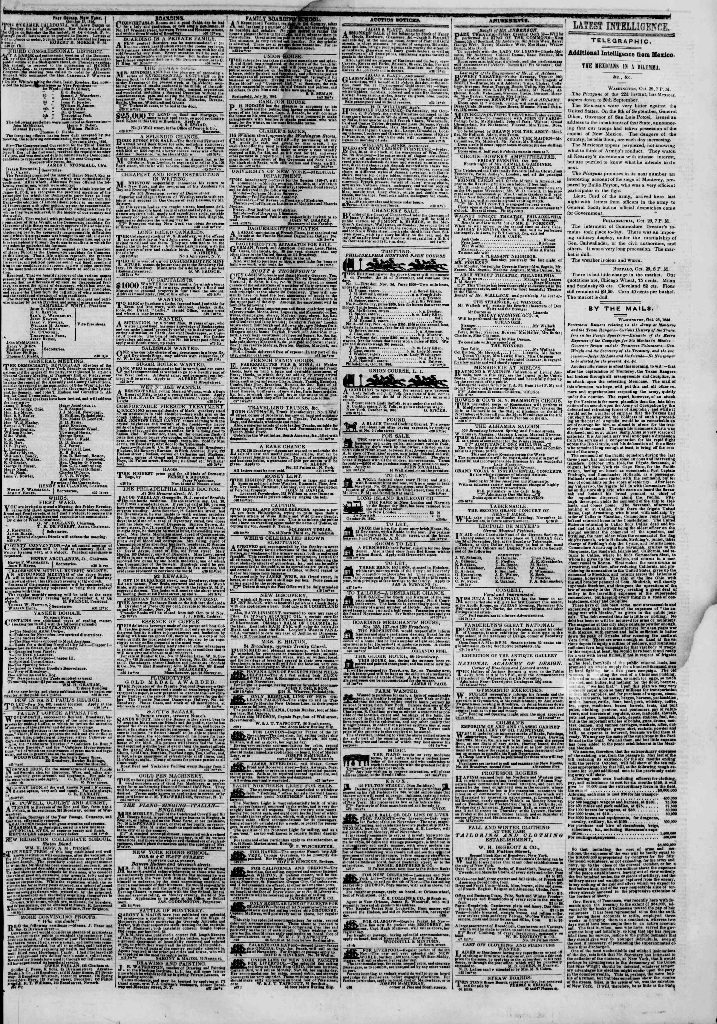 Newspaper of The New York Herald dated October 30, 1846 Page 3