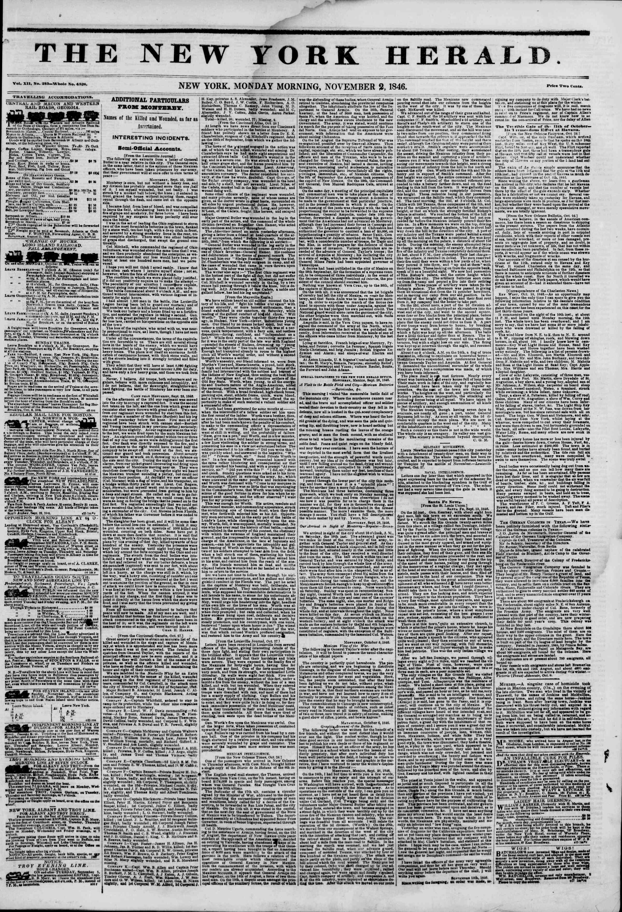 Newspaper of The New York Herald dated November 2, 1846 Page 1