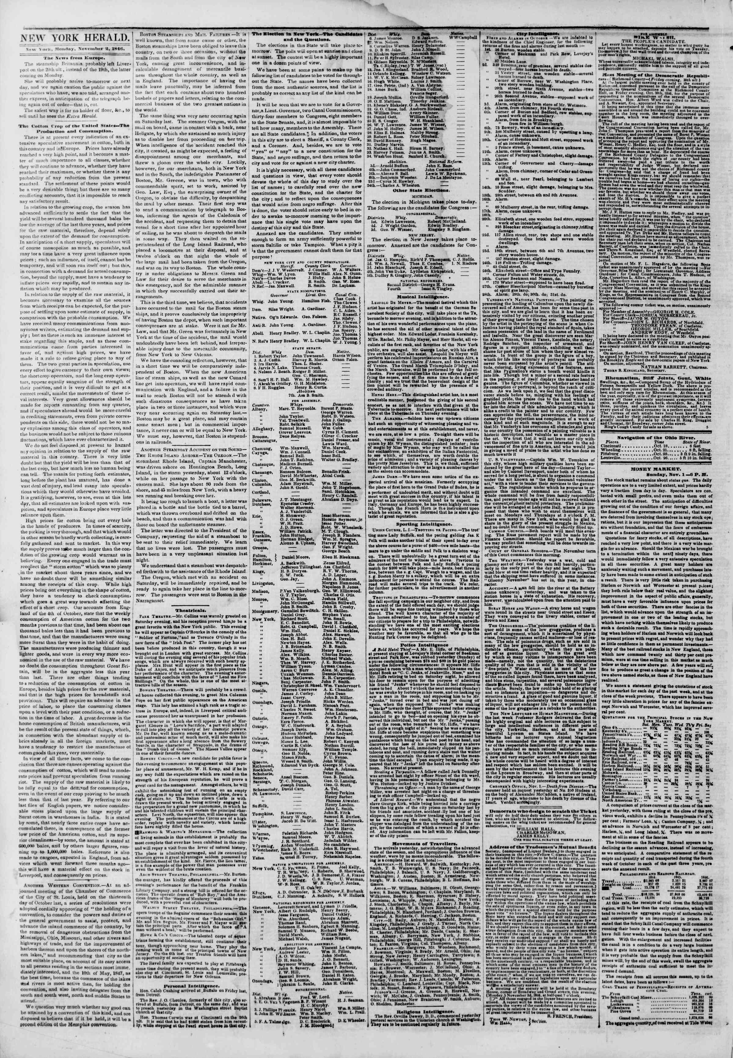 Newspaper of The New York Herald dated November 2, 1846 Page 2