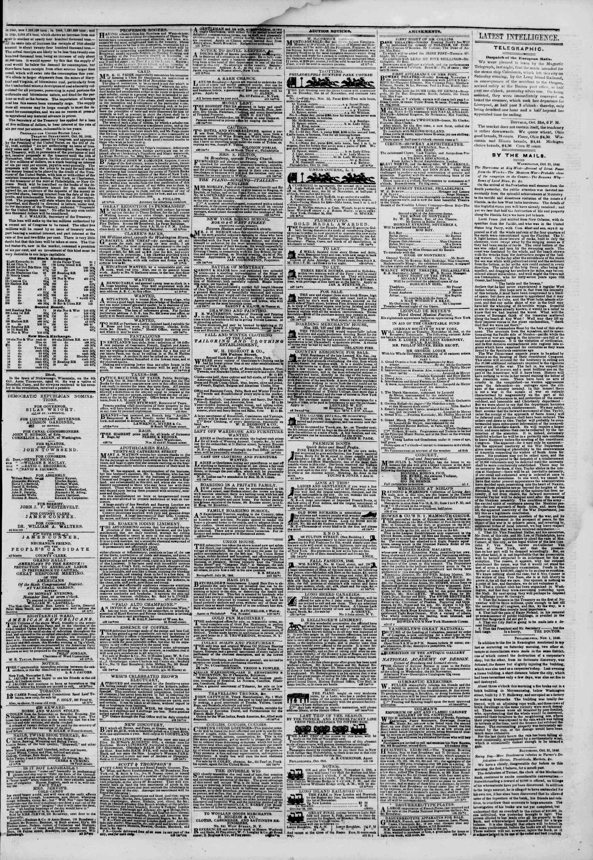 Newspaper of The New York Herald dated November 2, 1846 Page 3