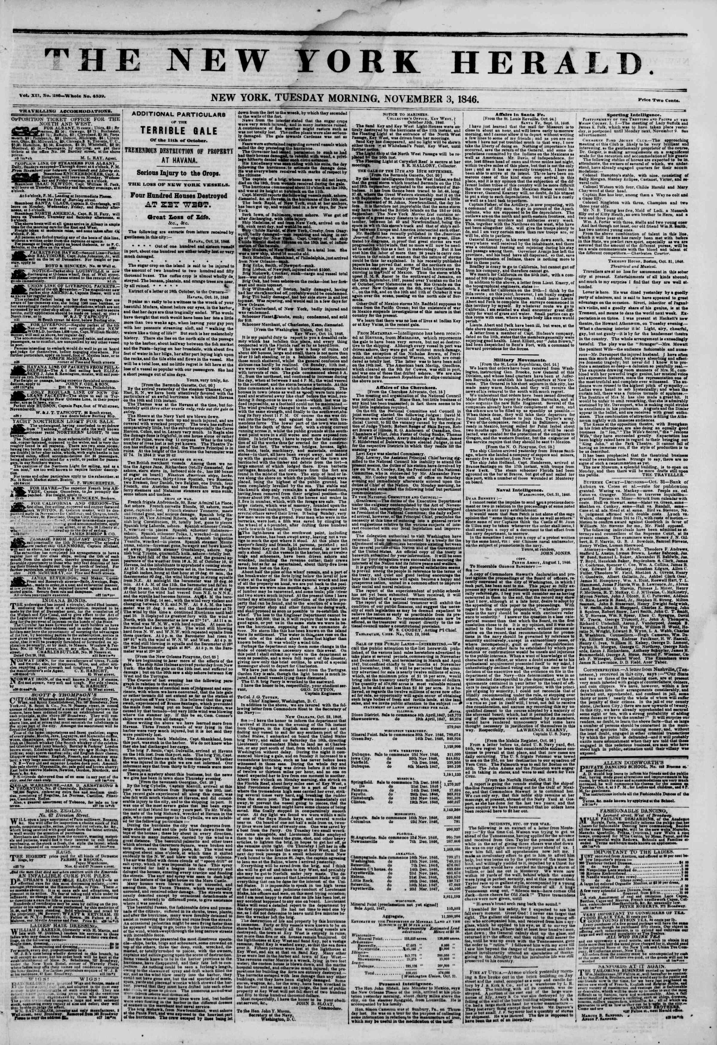 Newspaper of The New York Herald dated November 3, 1846 Page 1