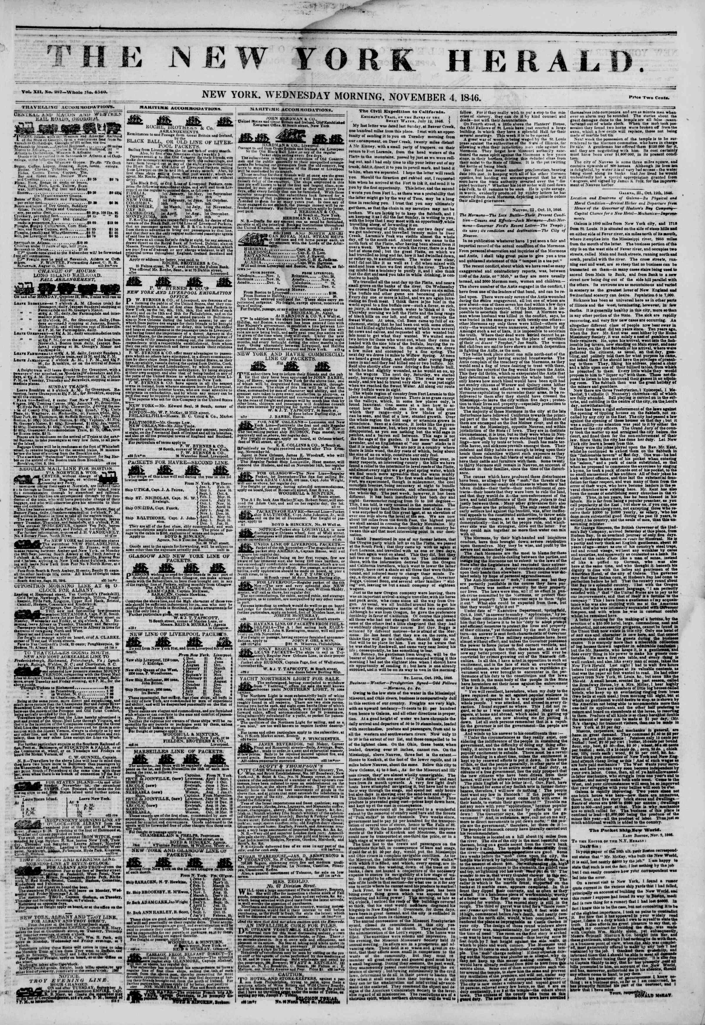 Newspaper of The New York Herald dated November 4, 1846 Page 1