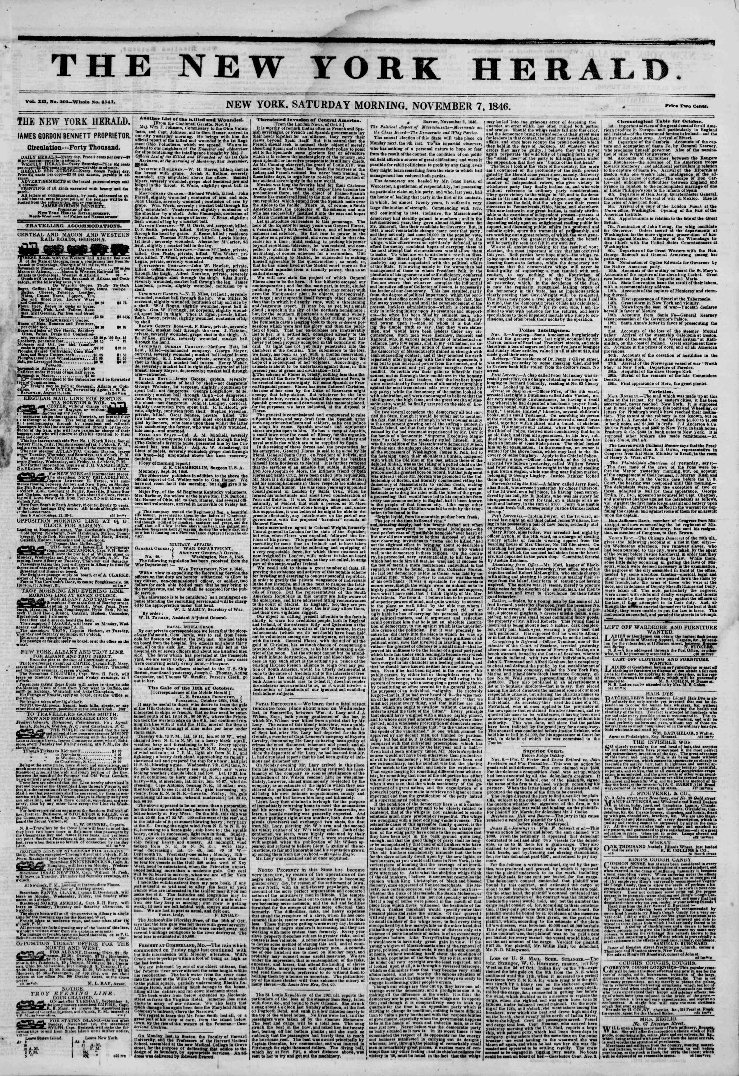 Newspaper of The New York Herald dated November 7, 1846 Page 1