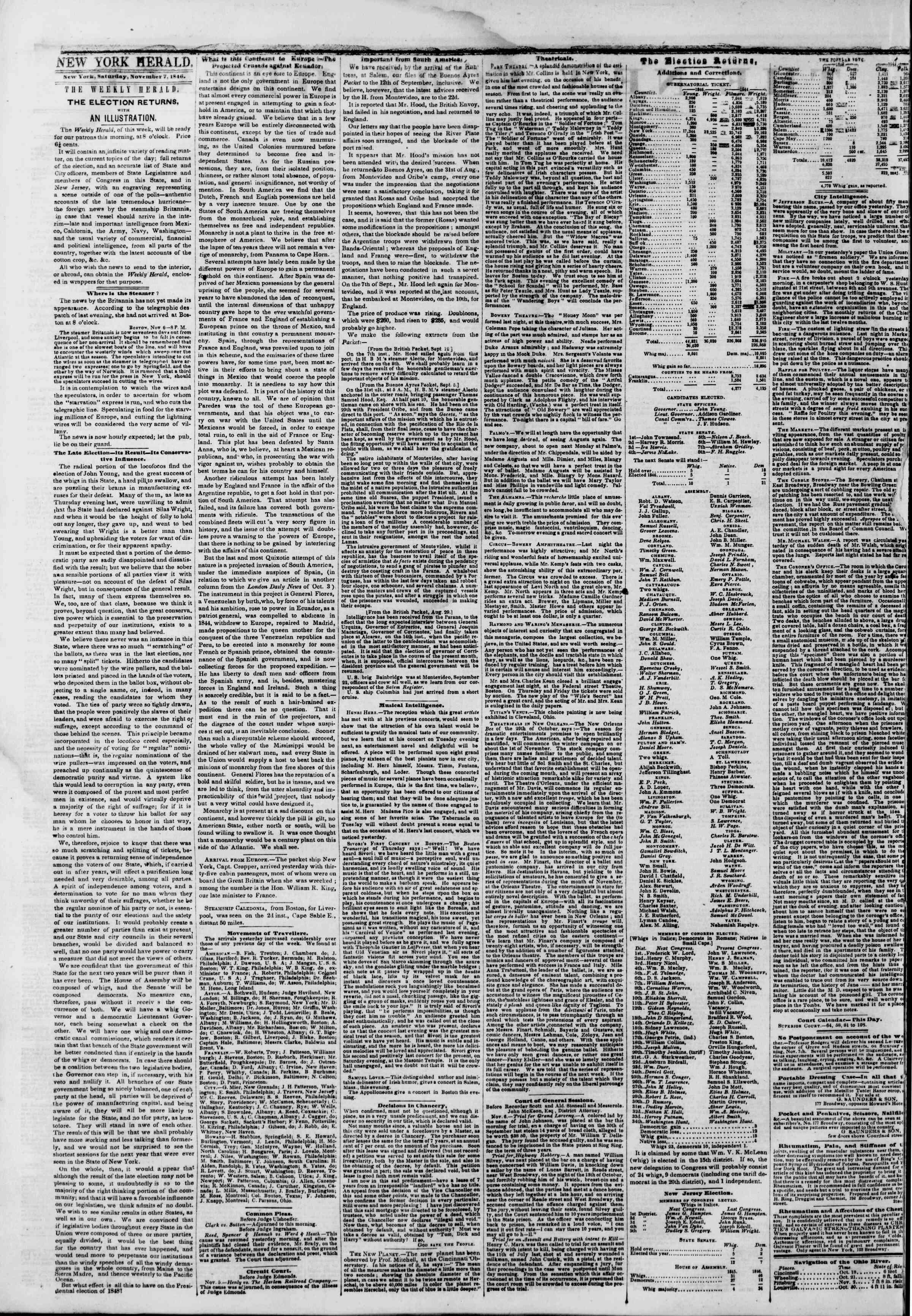 Newspaper of The New York Herald dated 7 Kasım 1846 Page 2