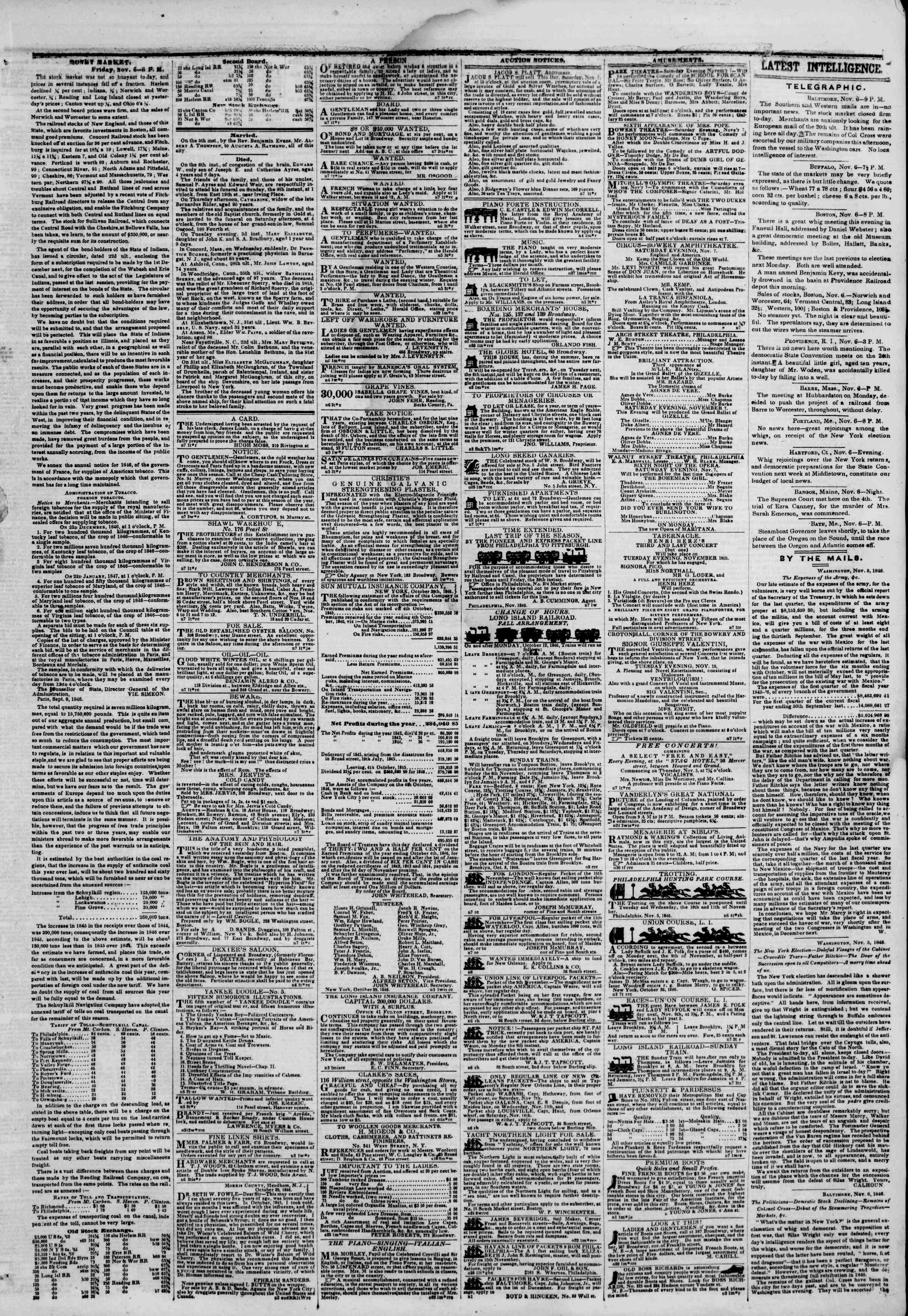 Newspaper of The New York Herald dated November 7, 1846 Page 3